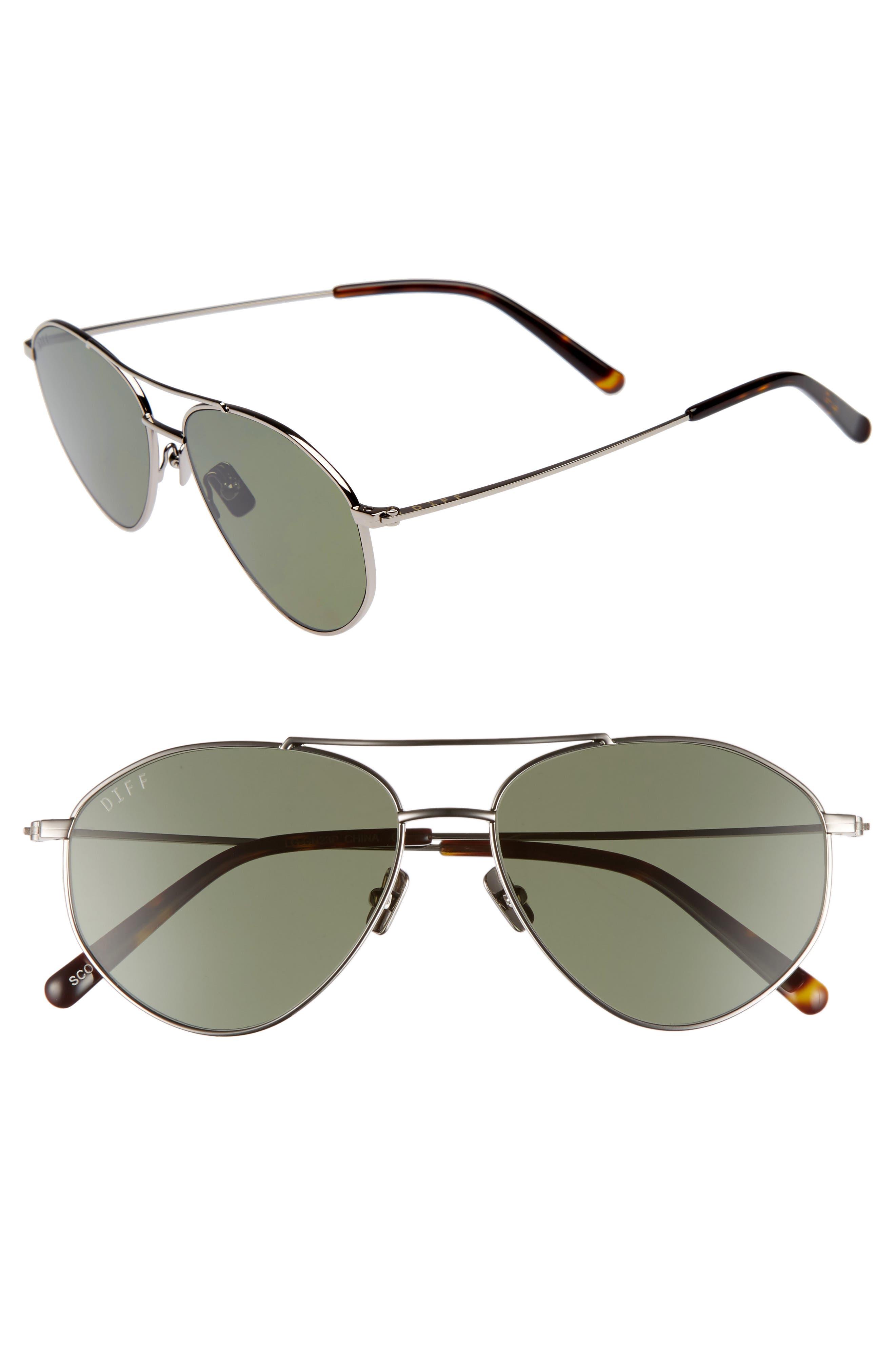 Scout 53mm Aviator Sunglasses,                         Main,                         color, Light Gunmetal/ Green