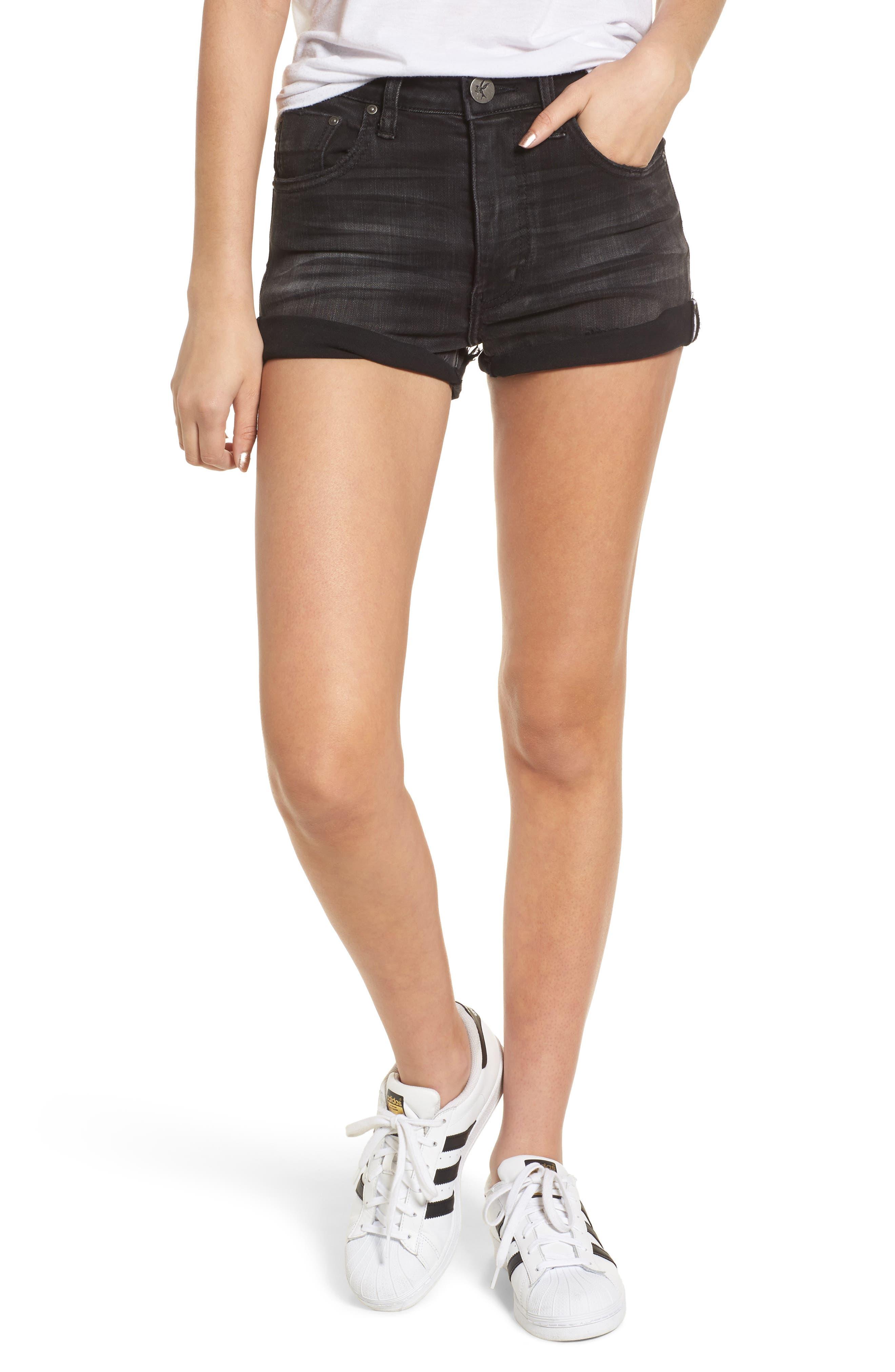 One Teaspoon Harlets Cuffed Denim Shorts (Superstar Black)