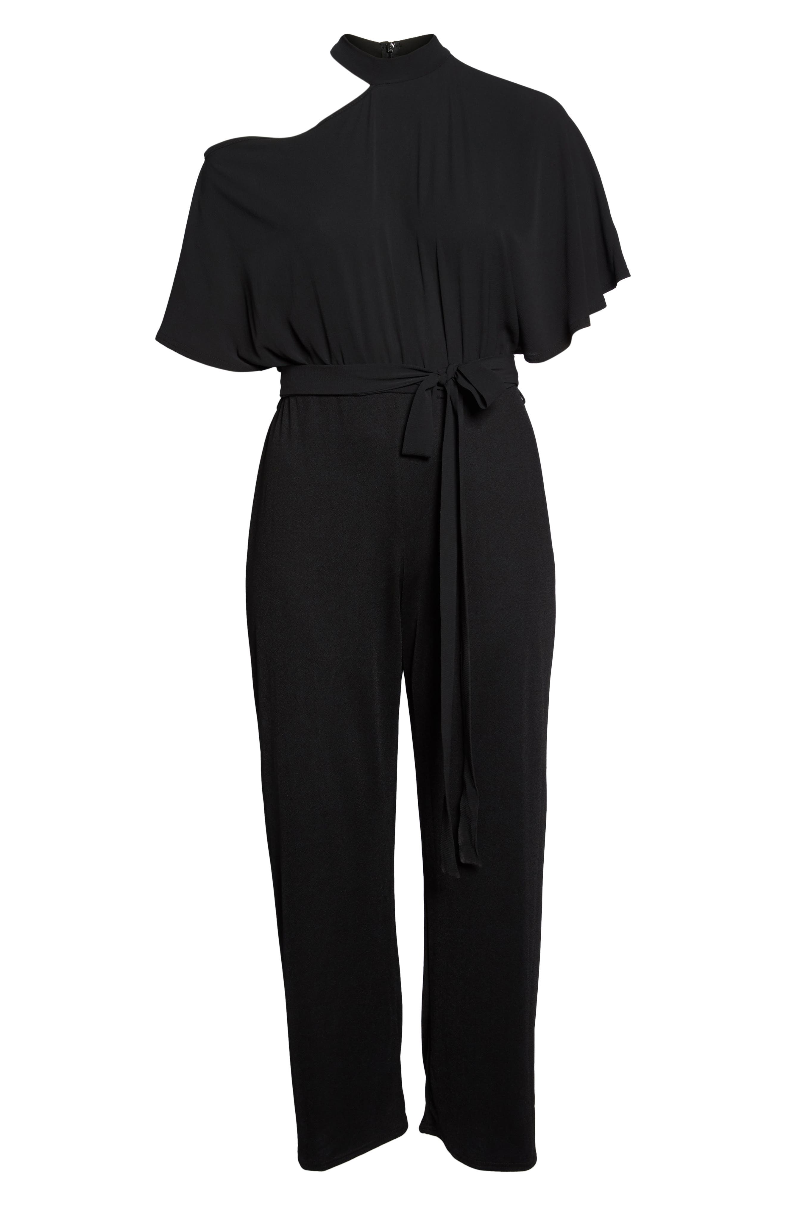 Cutout Shoulder Jumpsuit,                             Alternate thumbnail 7, color,                             Black