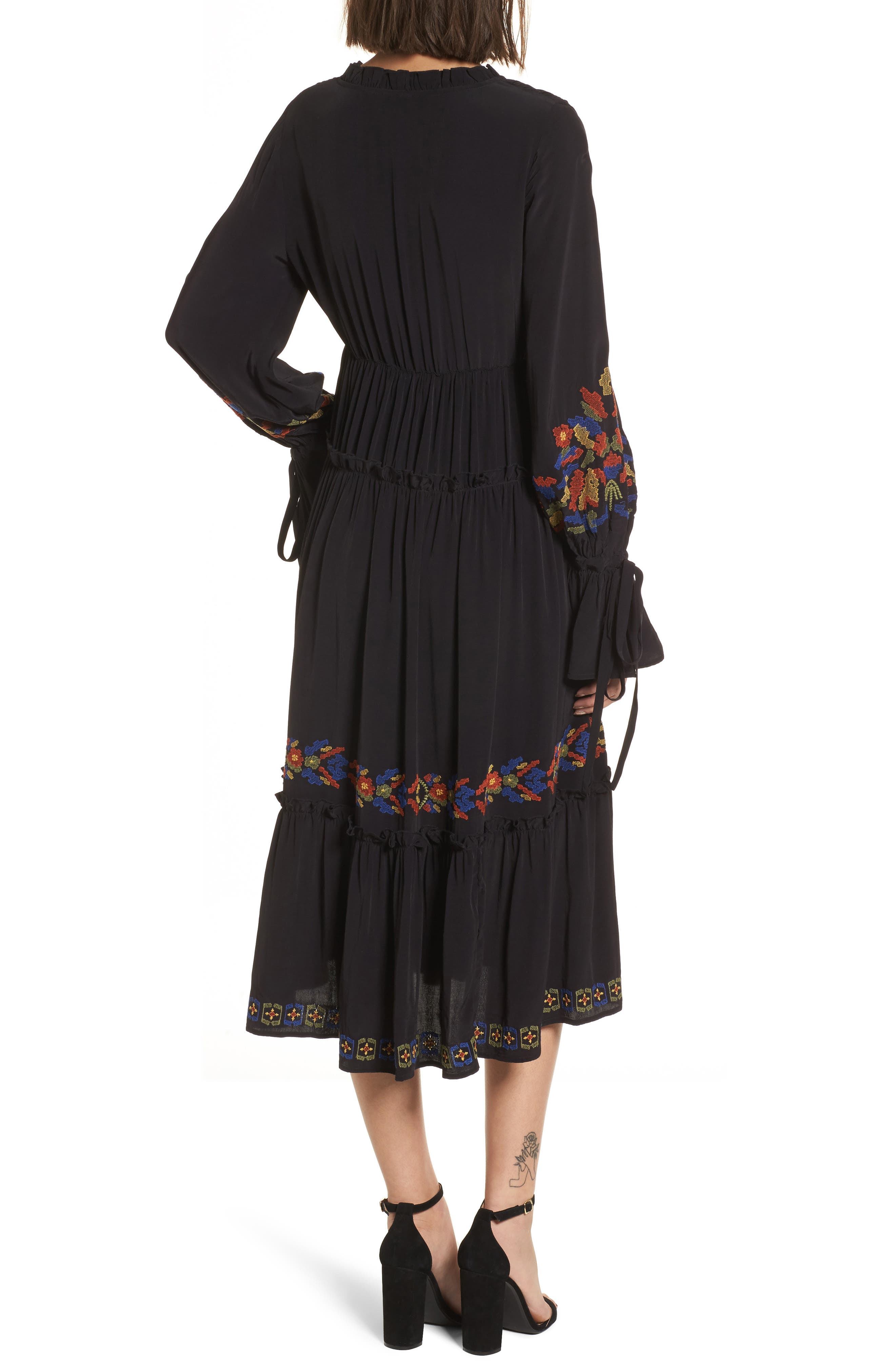 Embroidered Midi Dress,                             Alternate thumbnail 2, color,                             Black Combo