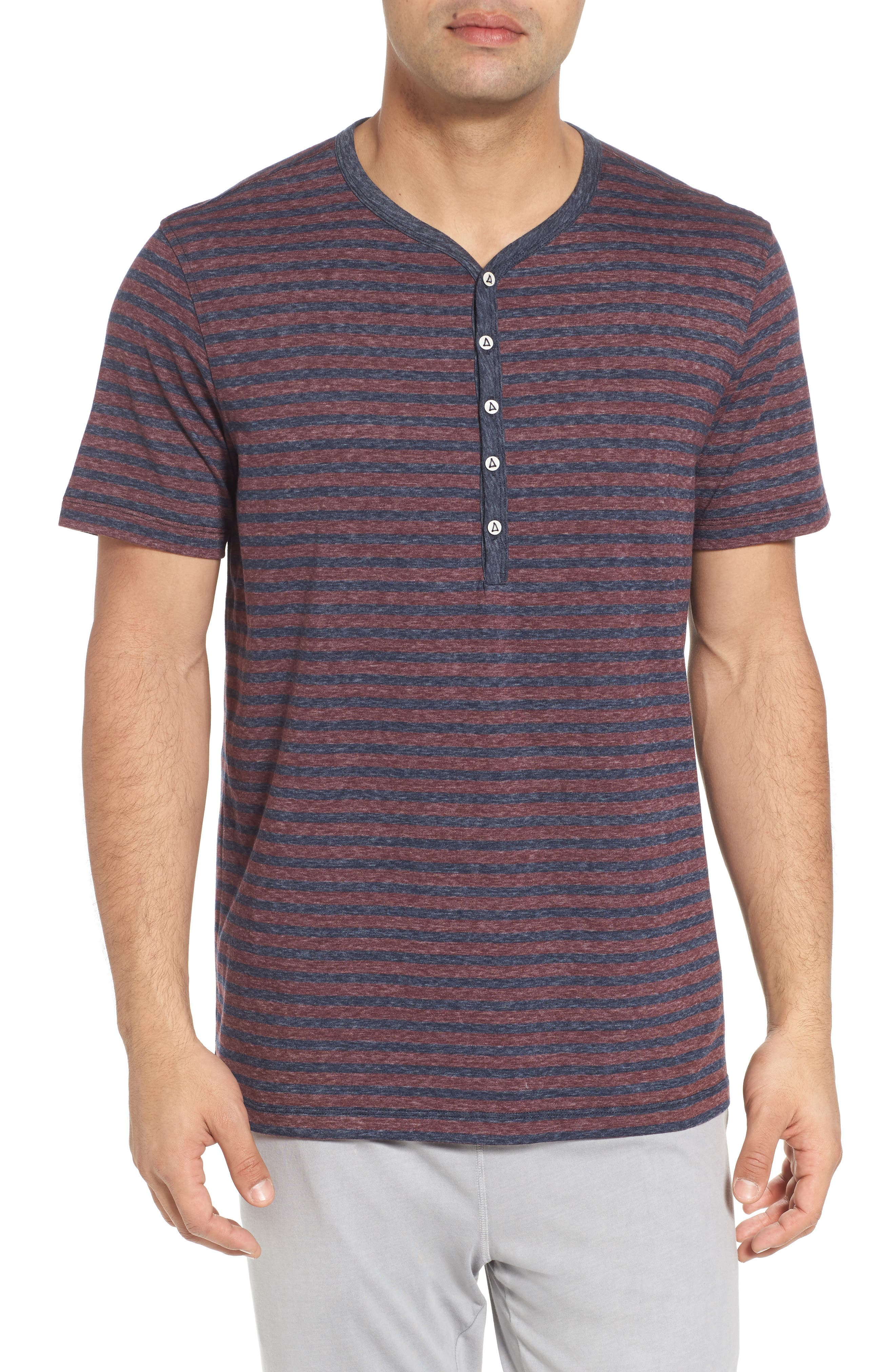 Short Sleeve Recycled Cotton Blend Henley,                         Main,                         color, Blue/ Red