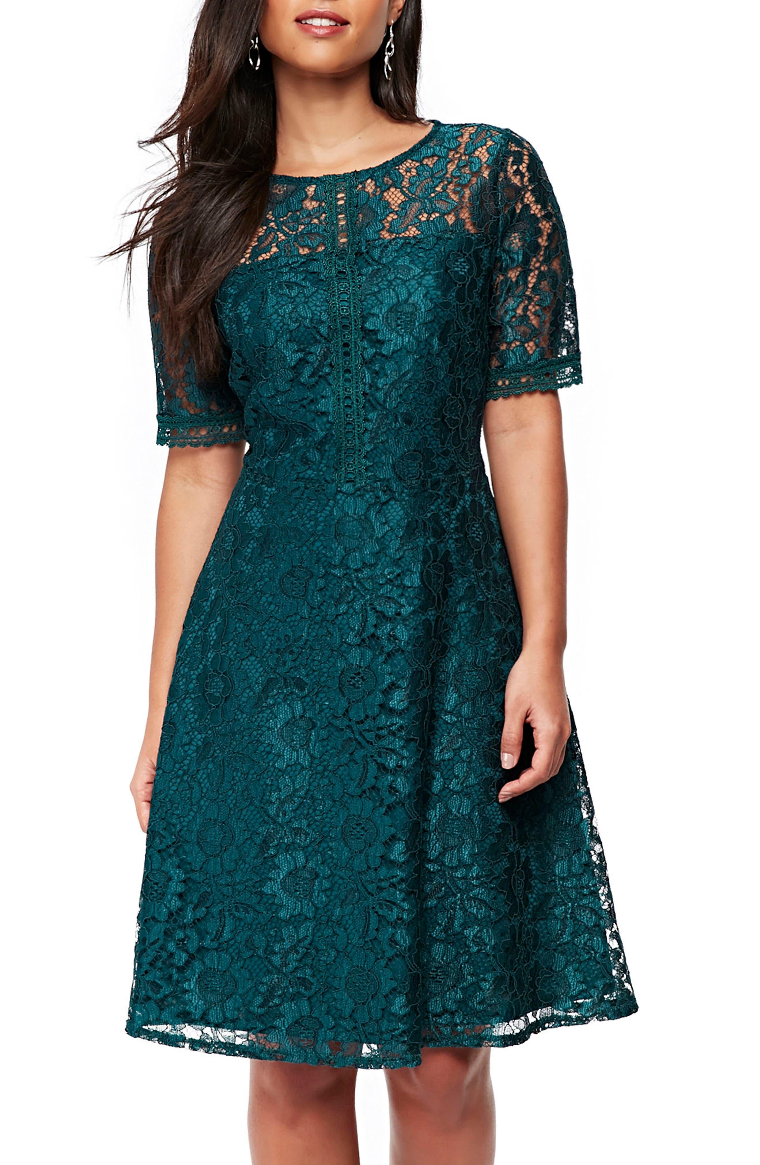 Lace & Lattice Fit & Flare Dress,                             Main thumbnail 1, color,                             Teal