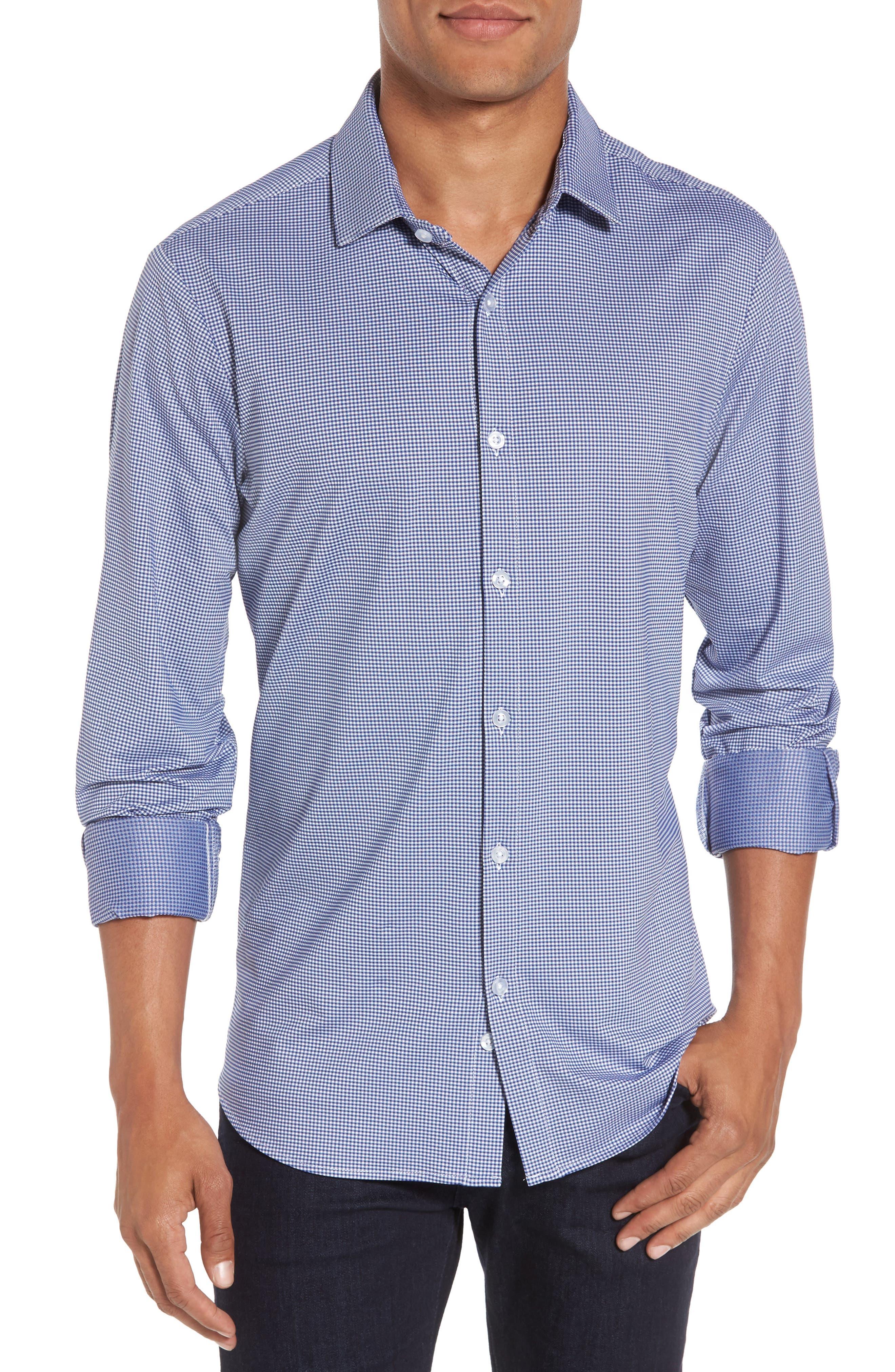 Davenport Gingham Sport Shirt,                         Main,                         color, Black