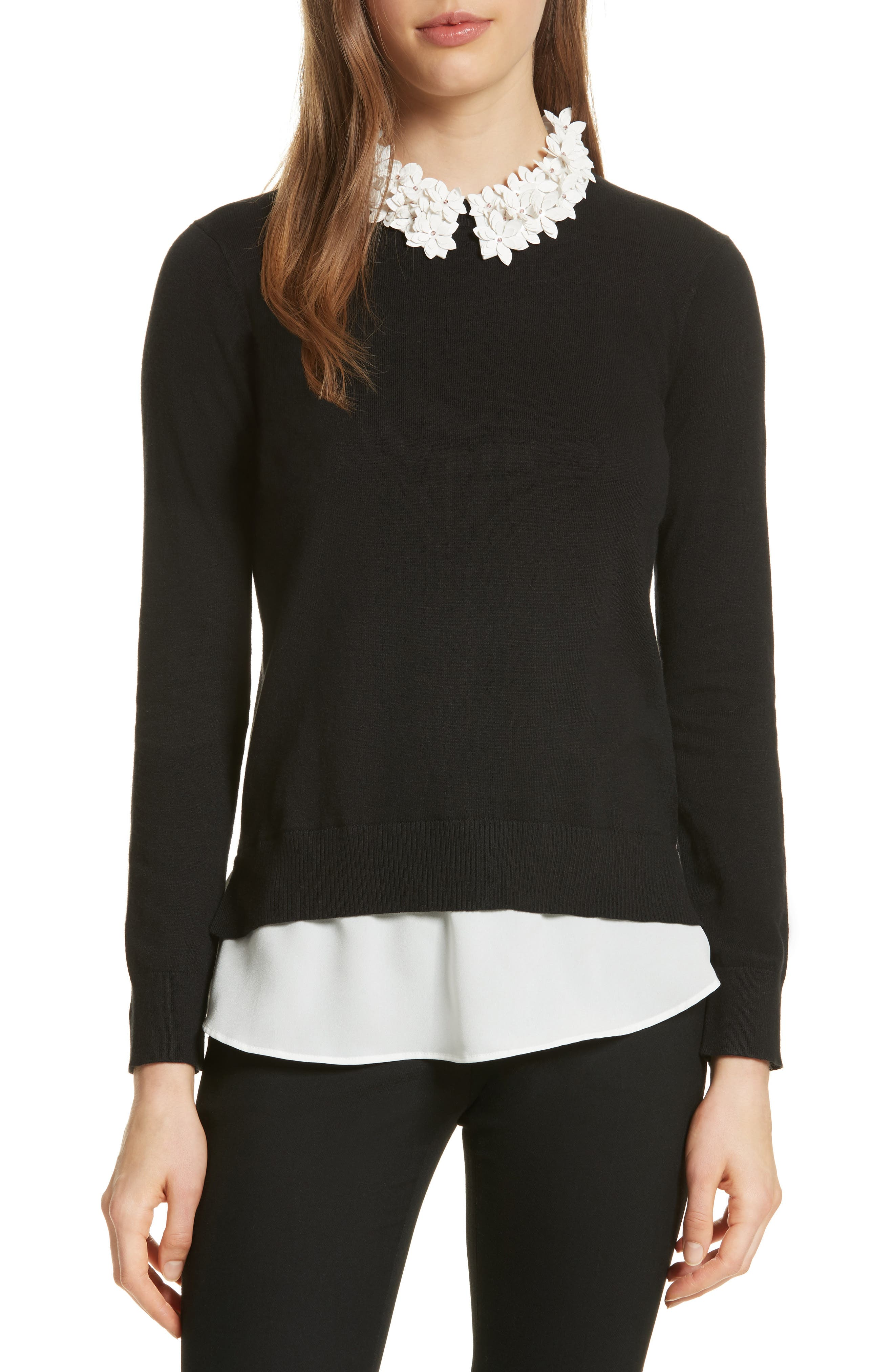 Floral Collar Sweater,                             Main thumbnail 1, color,                             Black