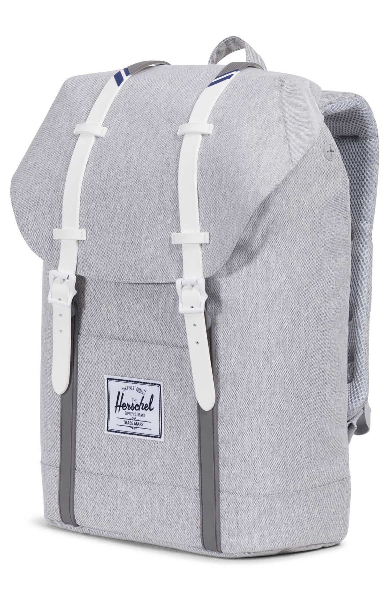 'Retreat' Backpack,                             Alternate thumbnail 4, color,                             Light Grey Crosshatch/ White