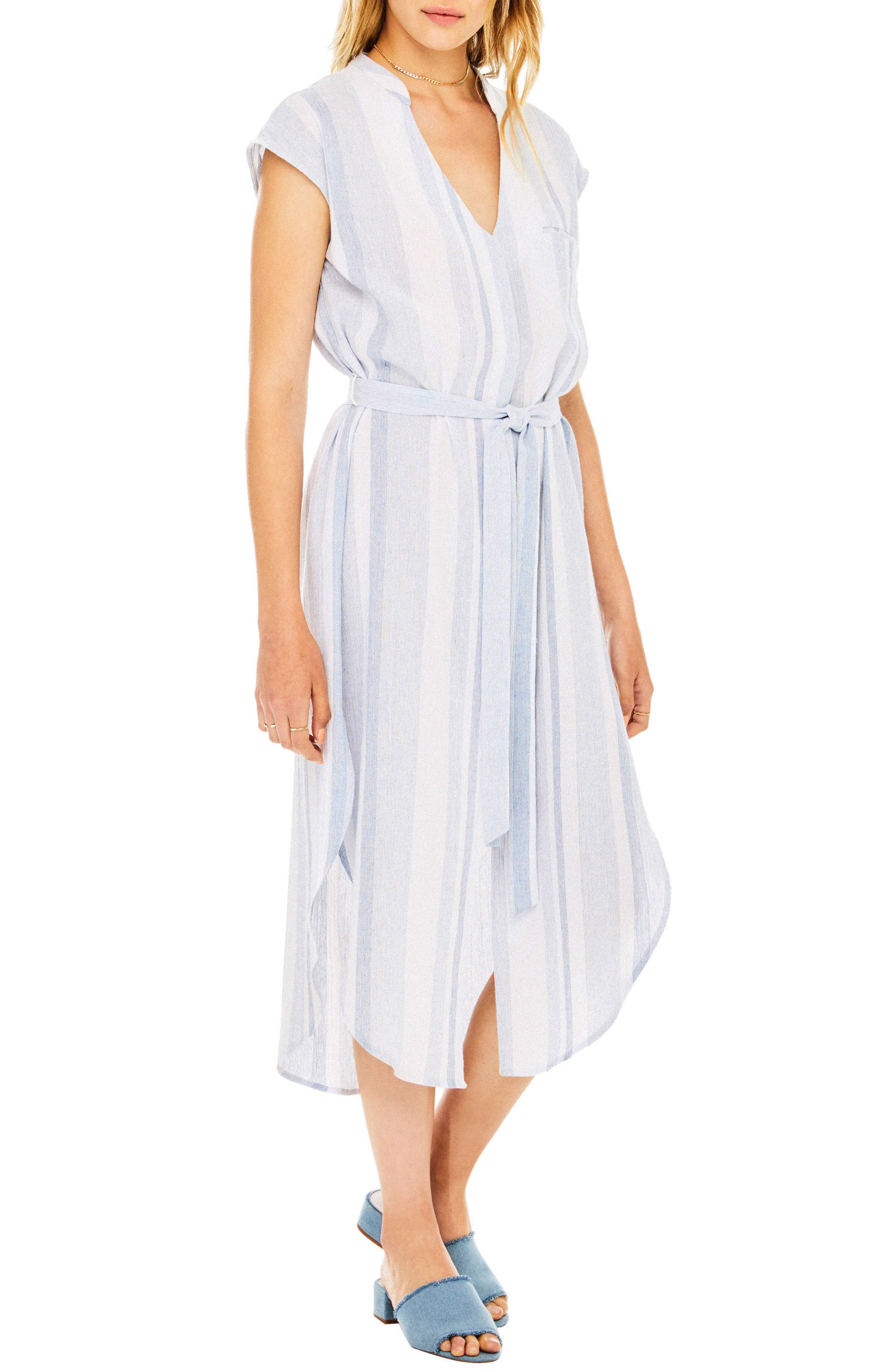 Sawyer Shirtdress,                             Alternate thumbnail 3, color,                             Sky Blue Stripe