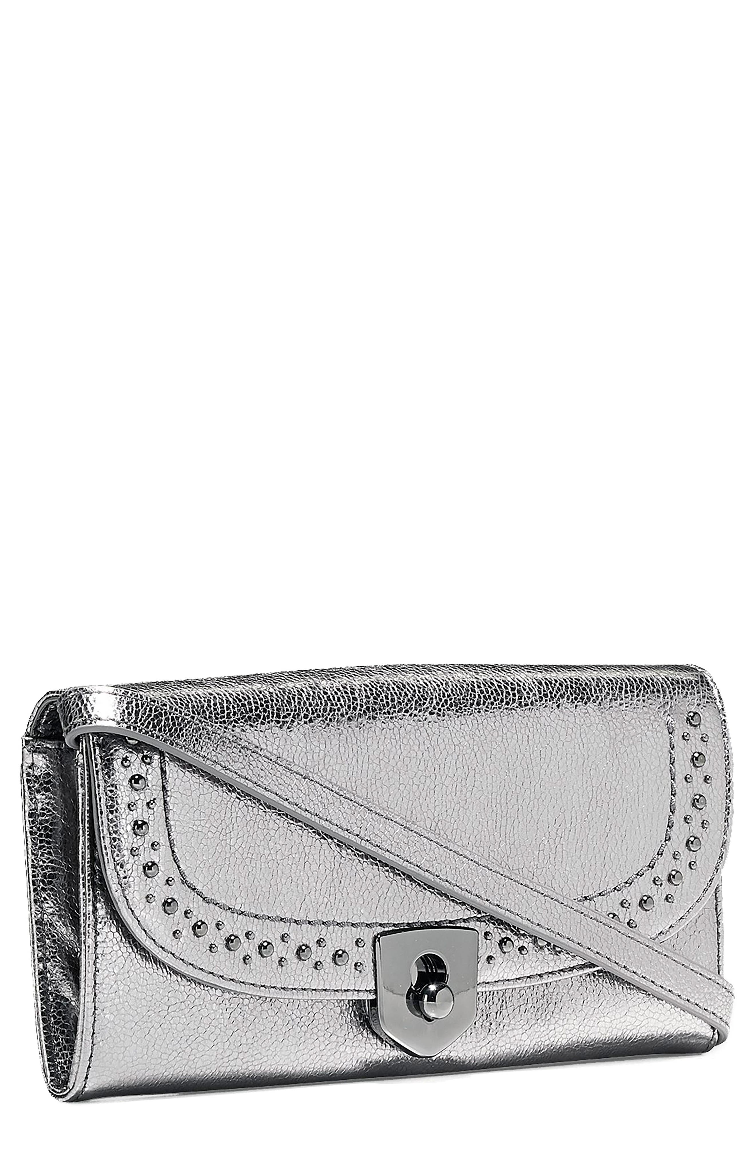 Marli Studded Metallic Leather Convertible Smartphone Clutch,                             Main thumbnail 1, color,                             Anthracite