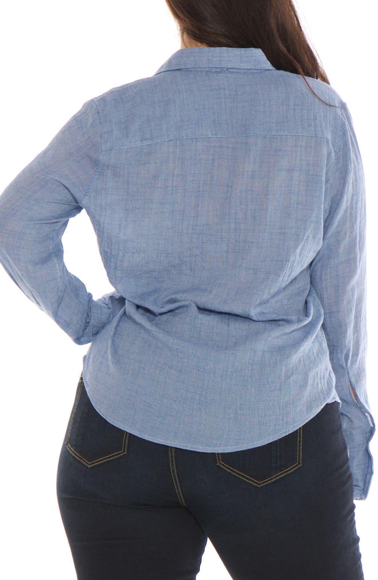 Crinkle Woven Shirt,                             Alternate thumbnail 2, color,                             Chambray
