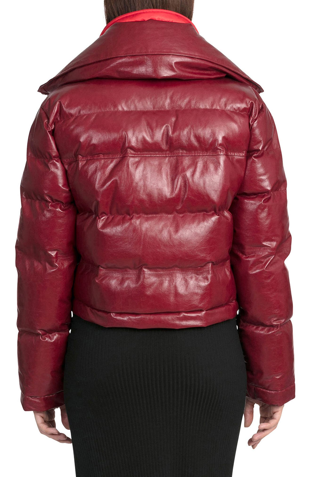 BAGATELLE.CITY The Puffer Leather Jacket with Removable Bib Lining,                             Alternate thumbnail 2, color,                             Deep Red