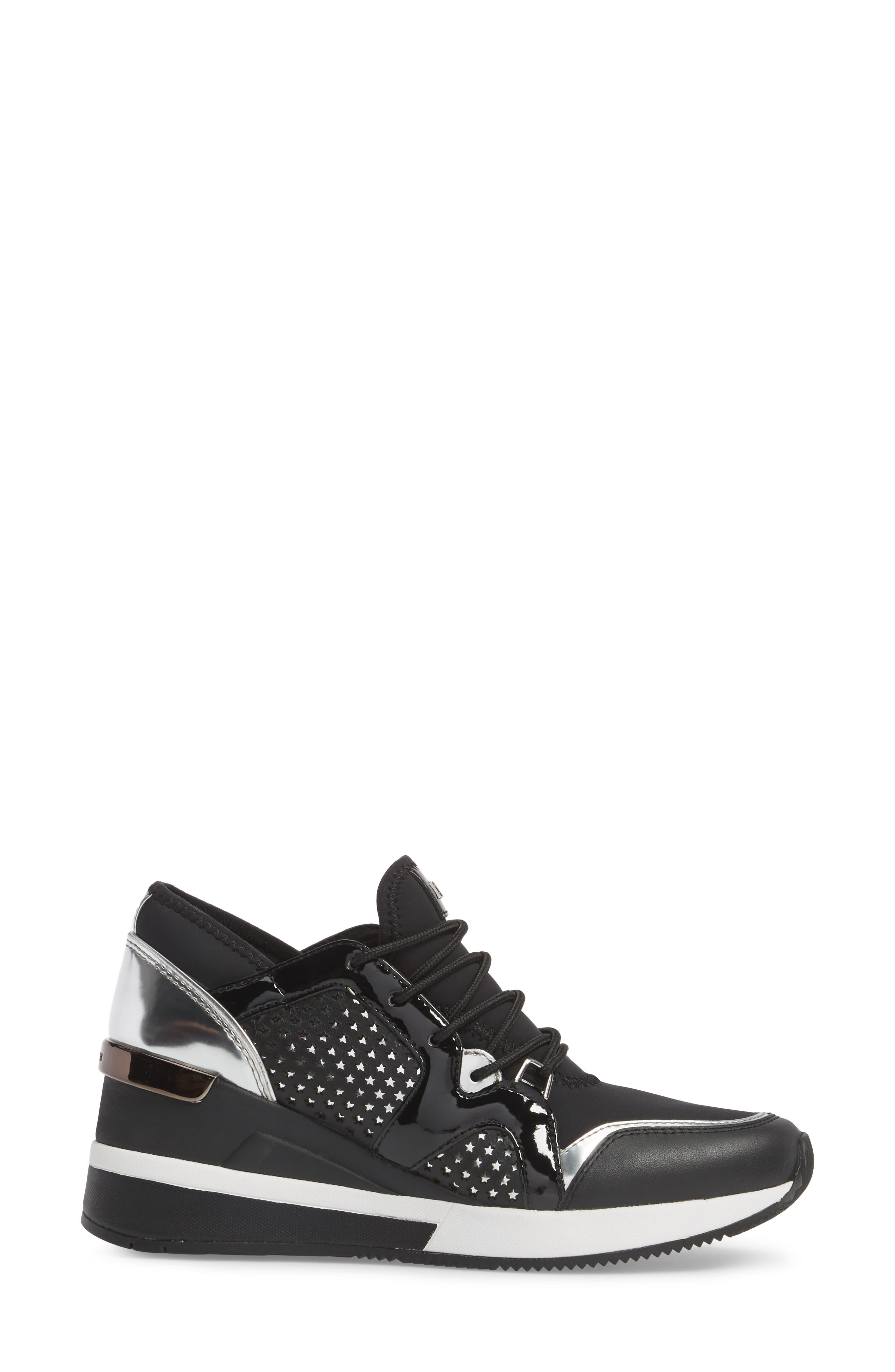 Scout Wedge Sneaker,                             Alternate thumbnail 3, color,                             Black Star