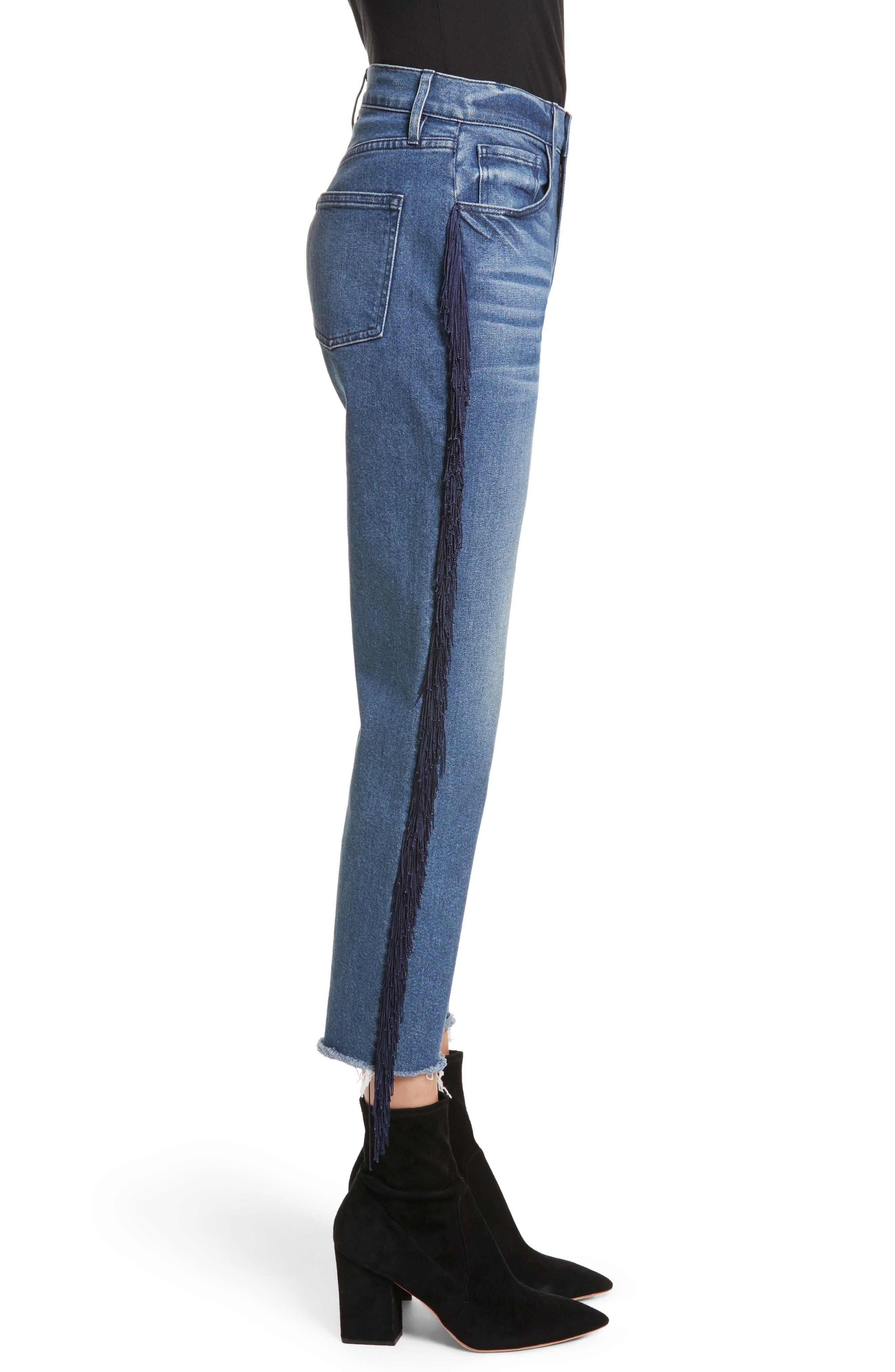W3 Higher Ground Fringe Crop Straight Leg Jeans,                             Alternate thumbnail 4, color,                             Spanish Fringe