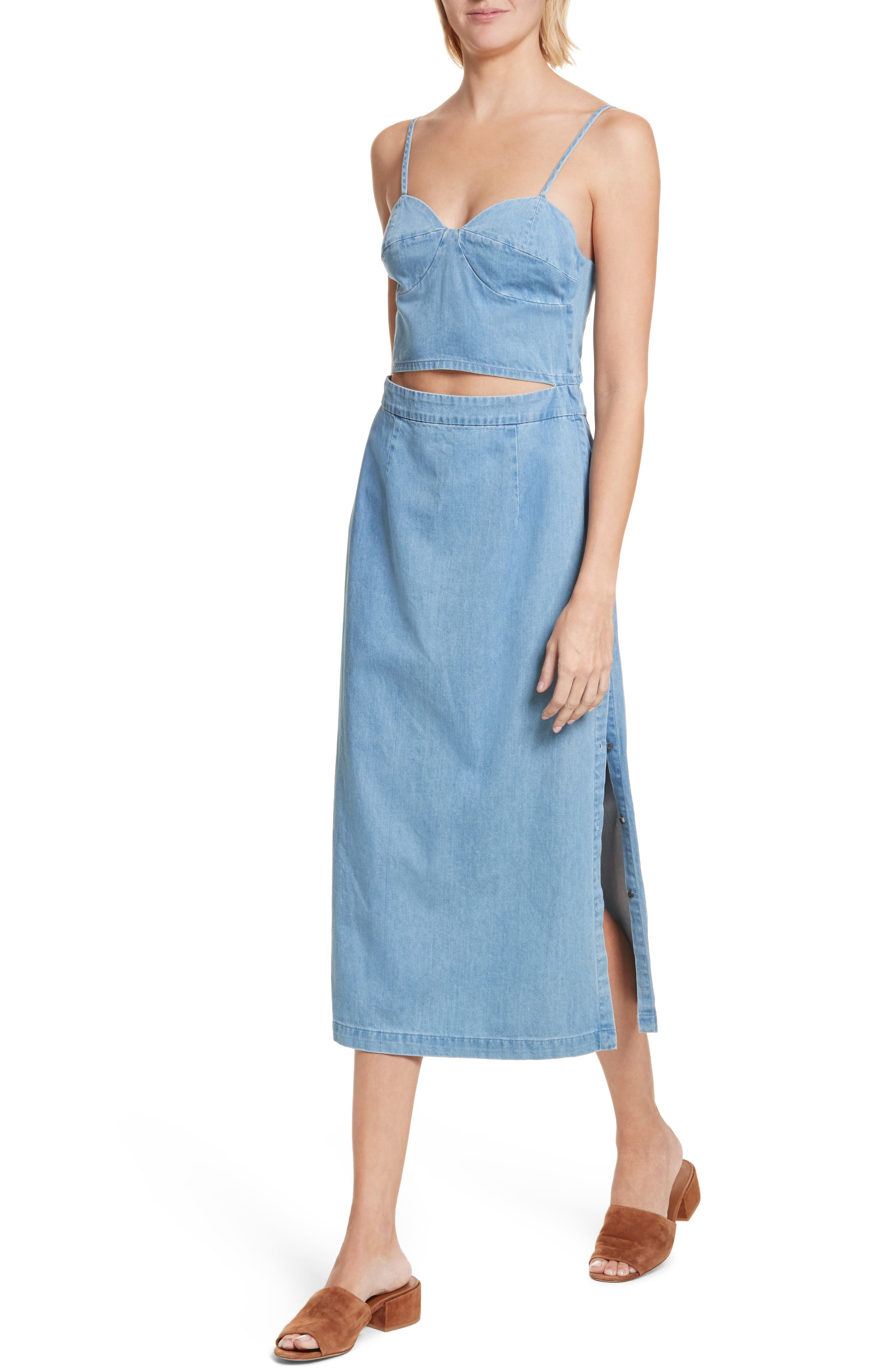 Peekaboo Chambray Midi Dress,                             Alternate thumbnail 4, color,                             Augustine