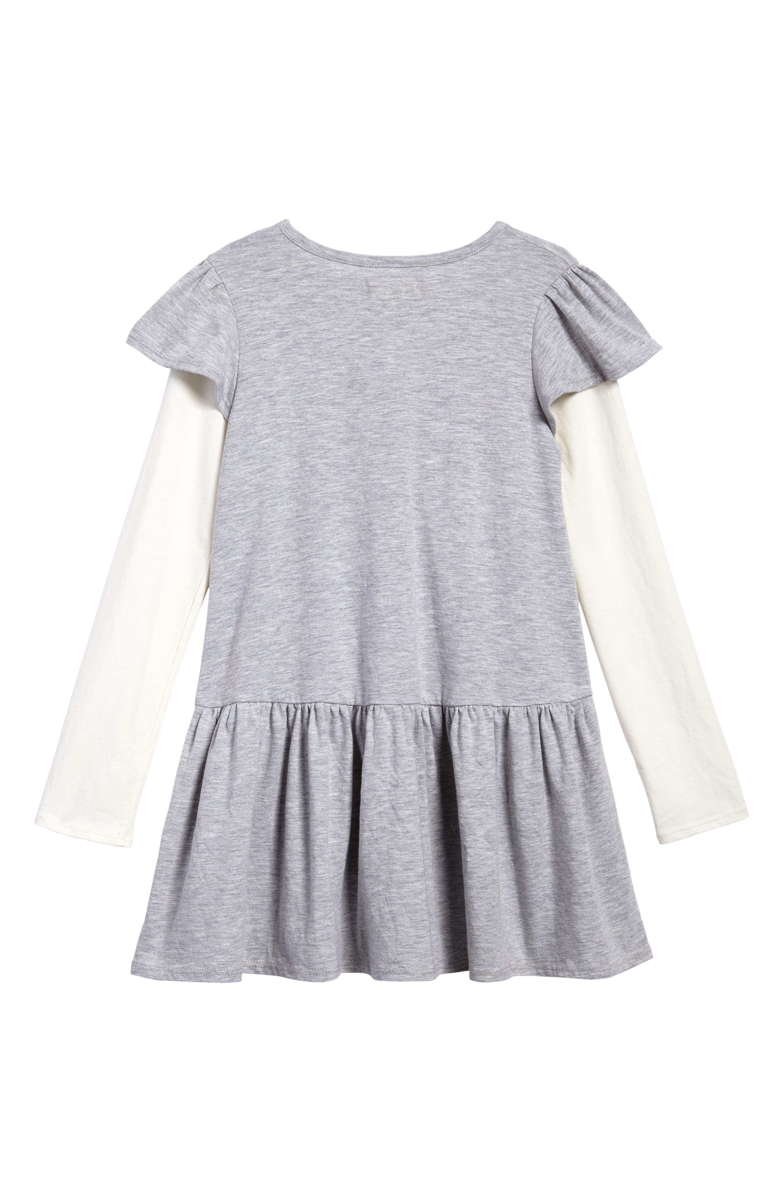 Flutter Sleeve Knit Dress,                             Alternate thumbnail 2, color,                             Grey Ash Heather Nice