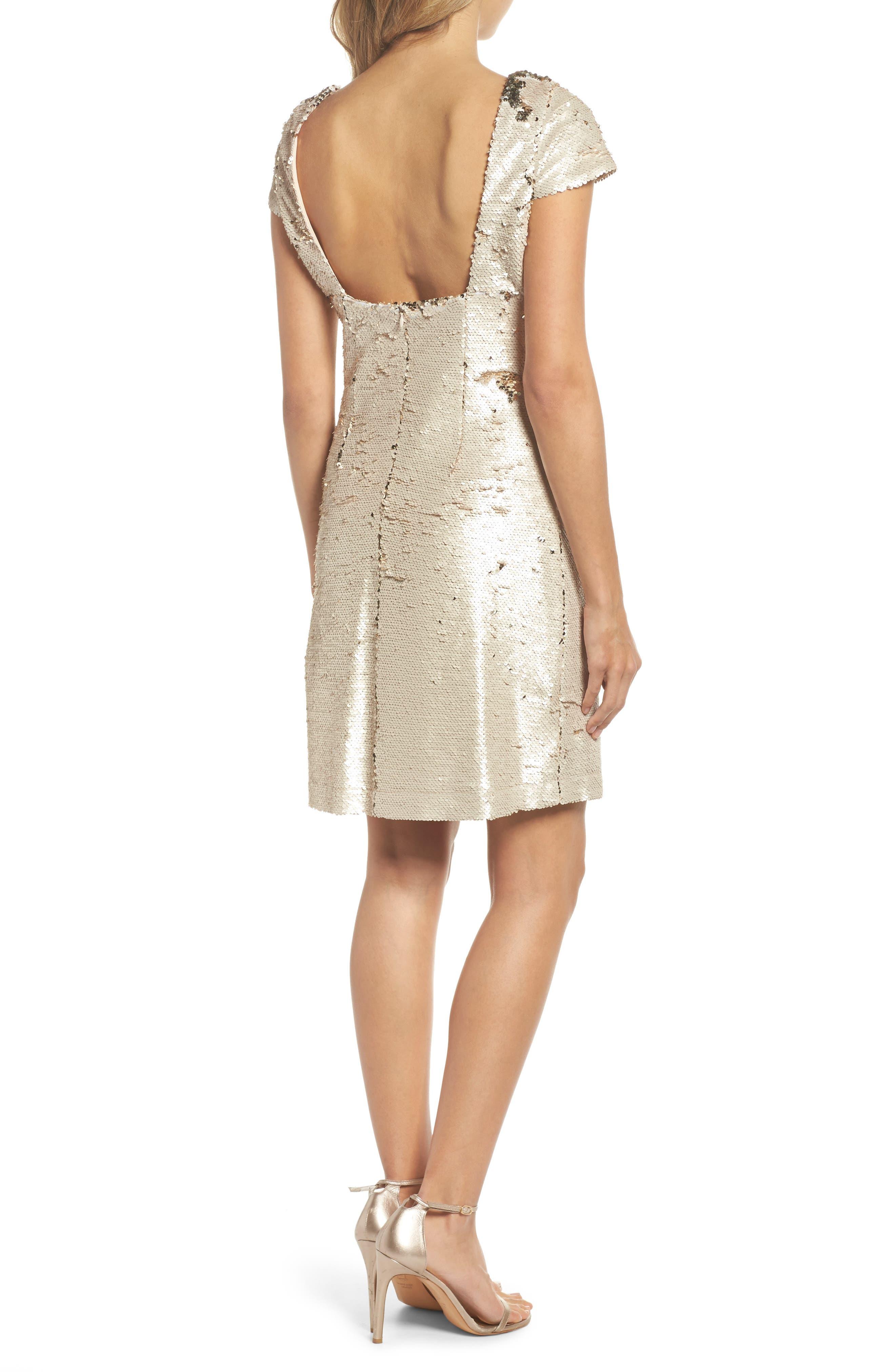 Sequin Sheath Dress,                             Alternate thumbnail 2, color,                             Champagne