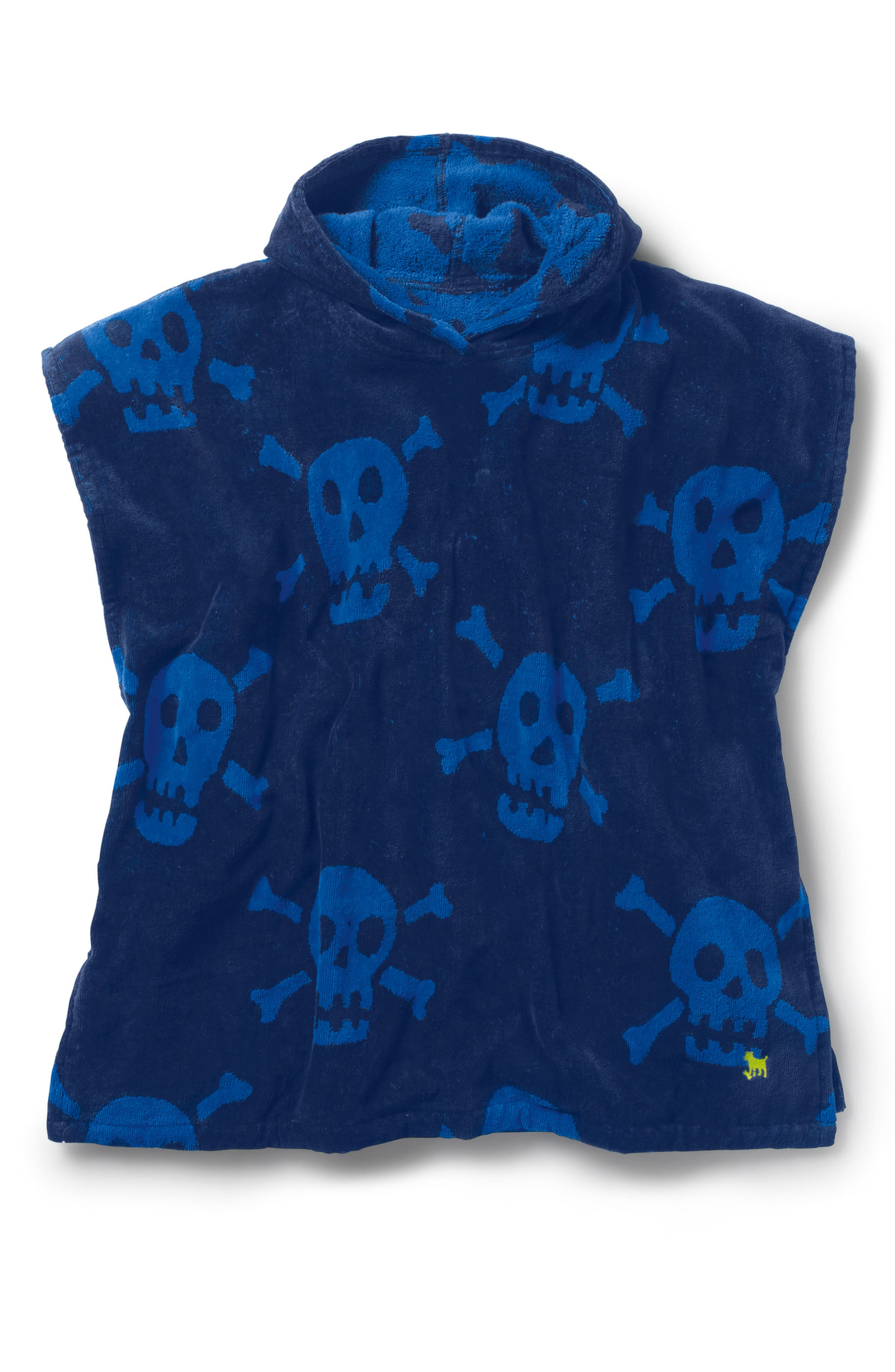 Hooded Poncho Cover-Up,                             Main thumbnail 1, color,                             Beacon Blue Large Skulls