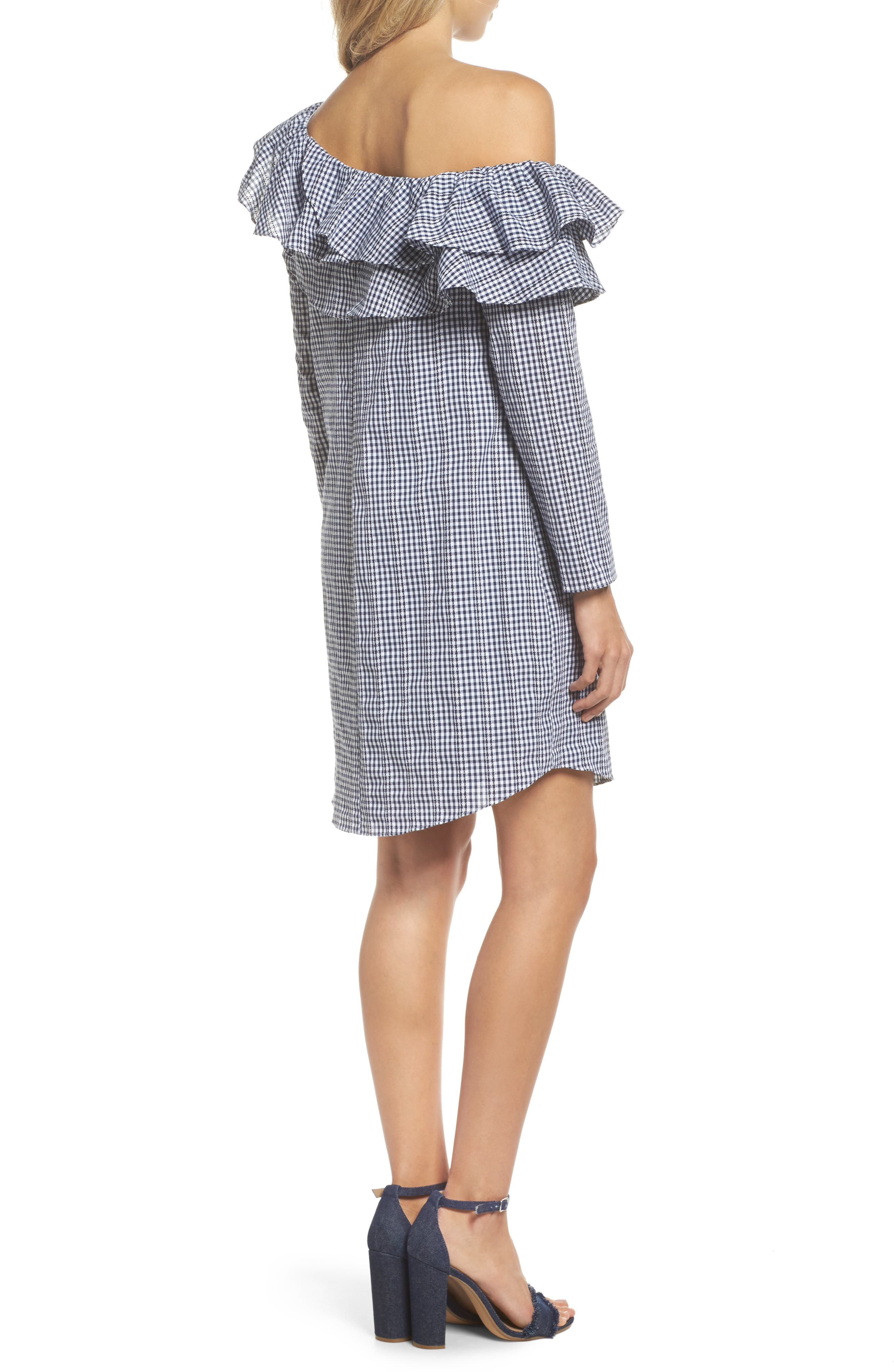 Gingham One-Shoulder Ruffle Dress,                             Alternate thumbnail 2, color,                             Navy