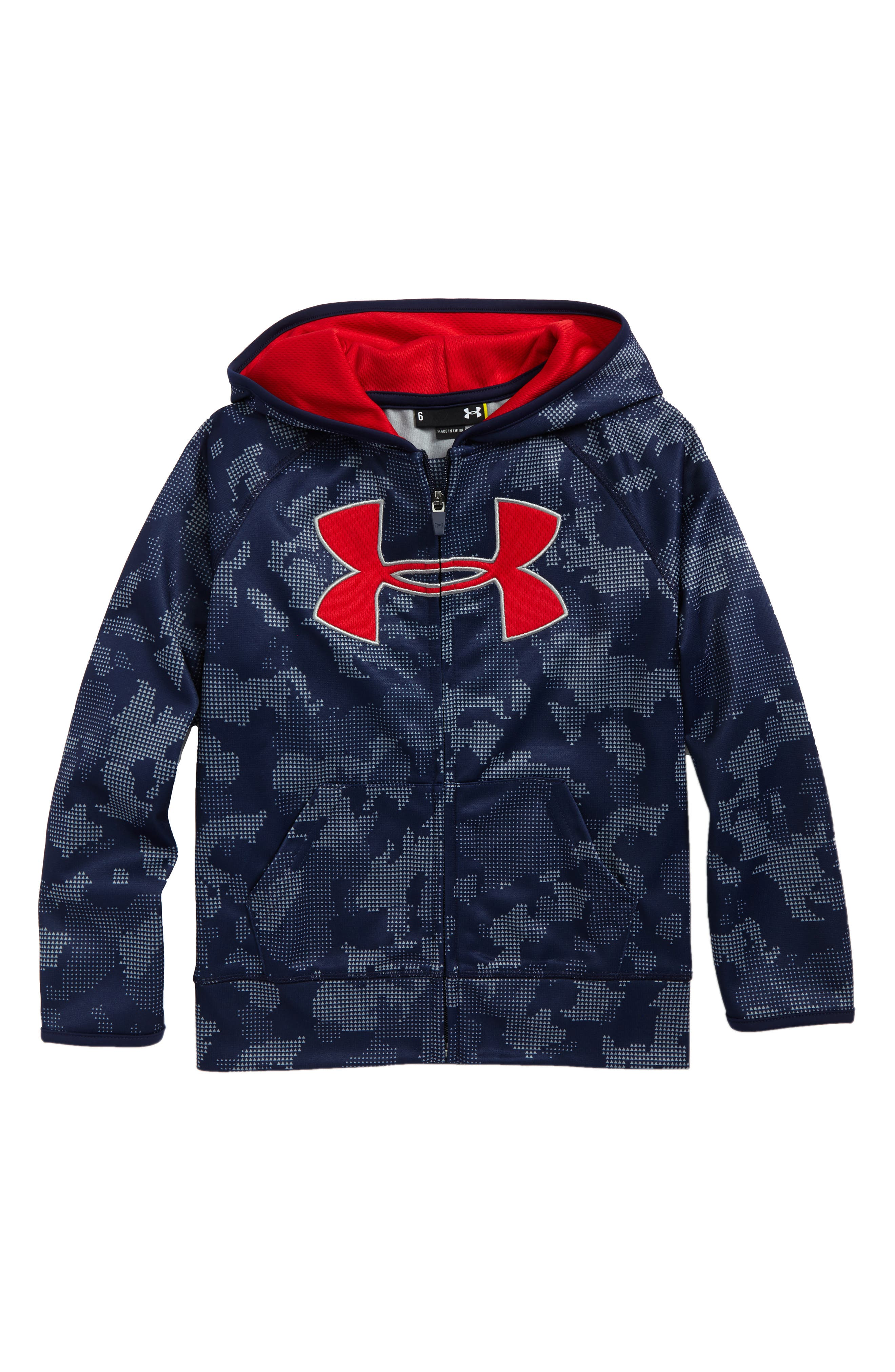 Utility Camo Logo Zip Hoodie,                             Main thumbnail 1, color,                             Midnight Navy