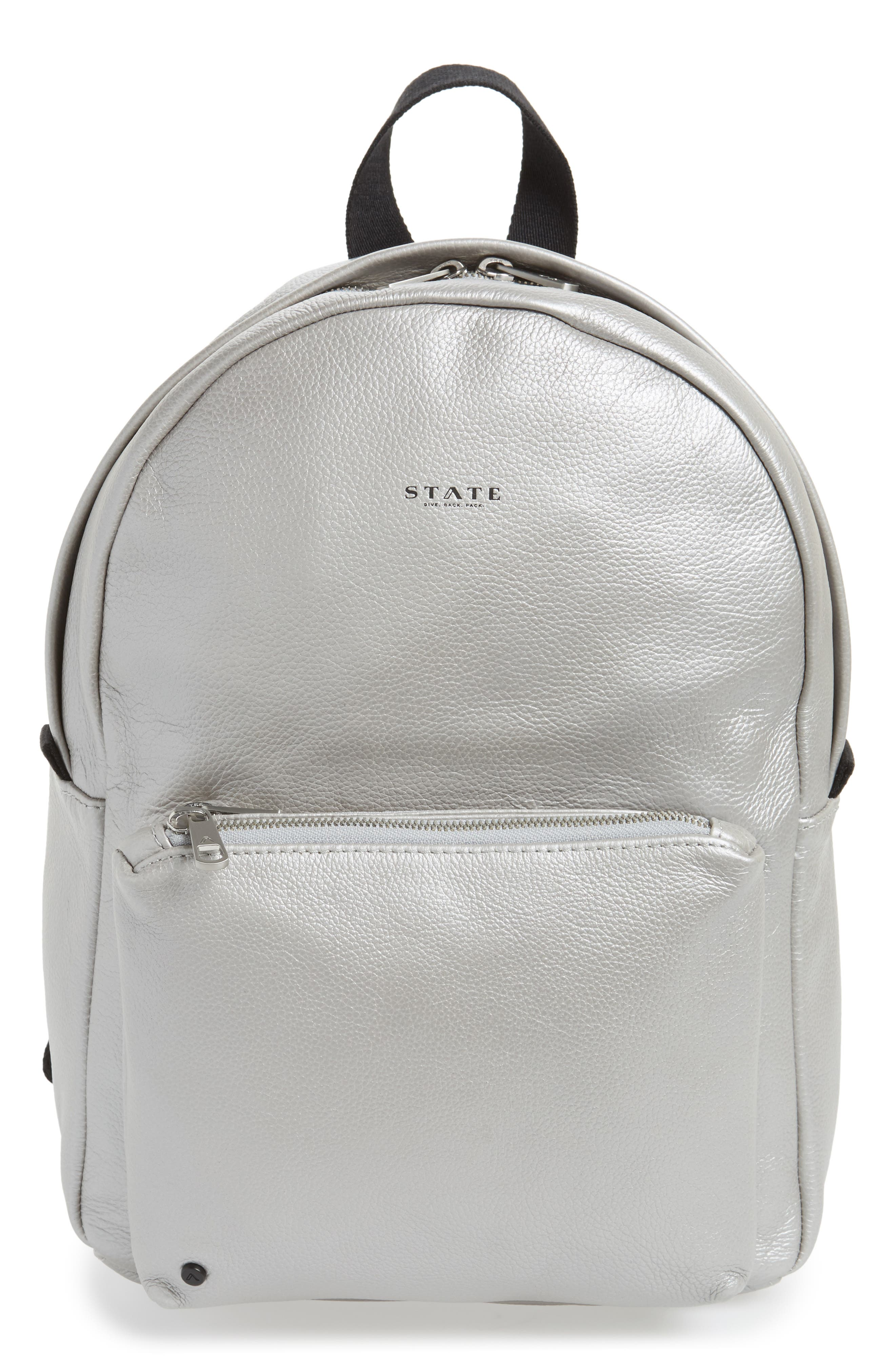Greenwood Mini Lorimer Leather Backpack,                             Main thumbnail 1, color,                             Silver