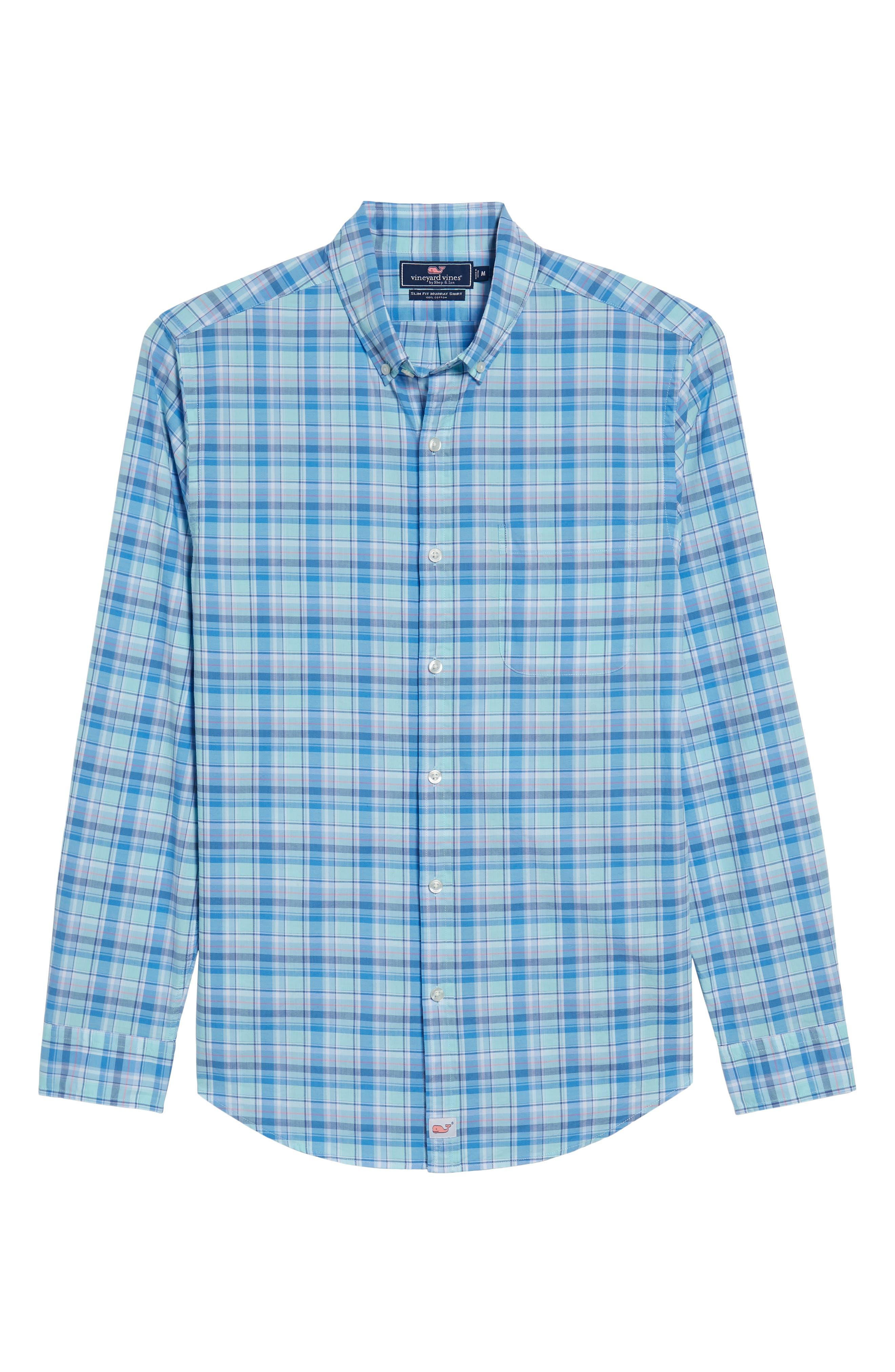 Murray Pine Island Slim Fit Plaid Sport Shirt,                             Alternate thumbnail 6, color,                             Sea Splash