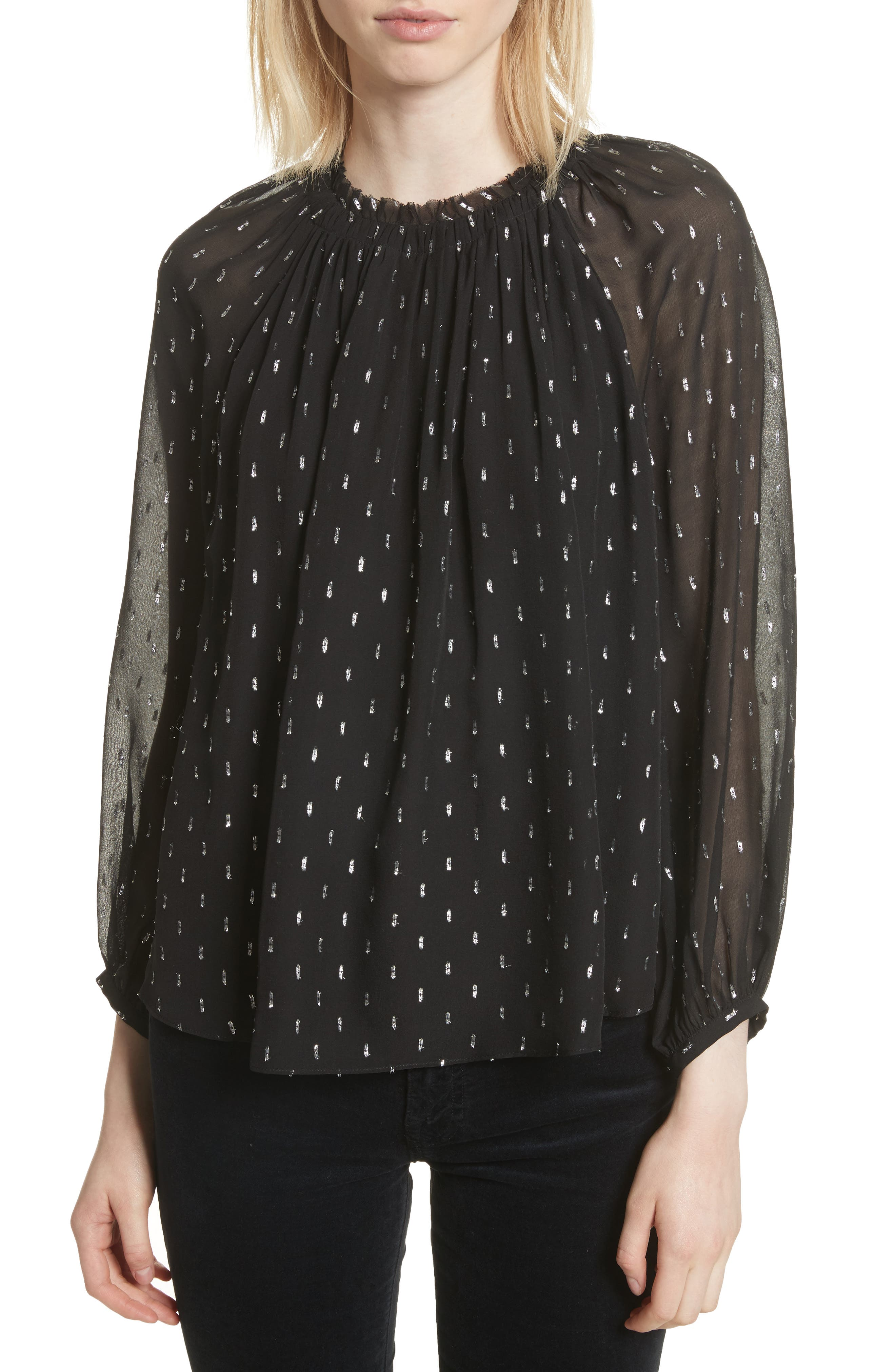 Main Image - Joie Baylee B Ruffle Collar Metallic Dot Blouse