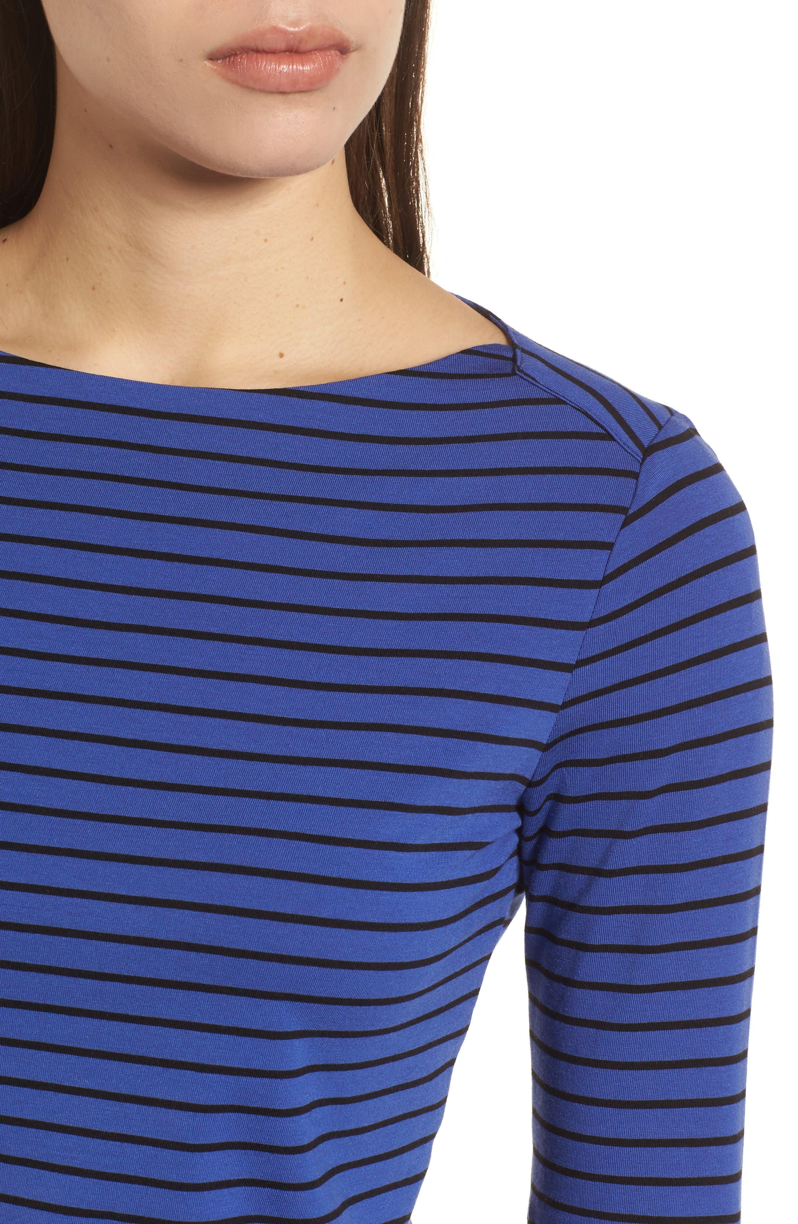 Stripe Knit Boatneck Top,                             Alternate thumbnail 4, color,                             Okeeffe Blue/ Black