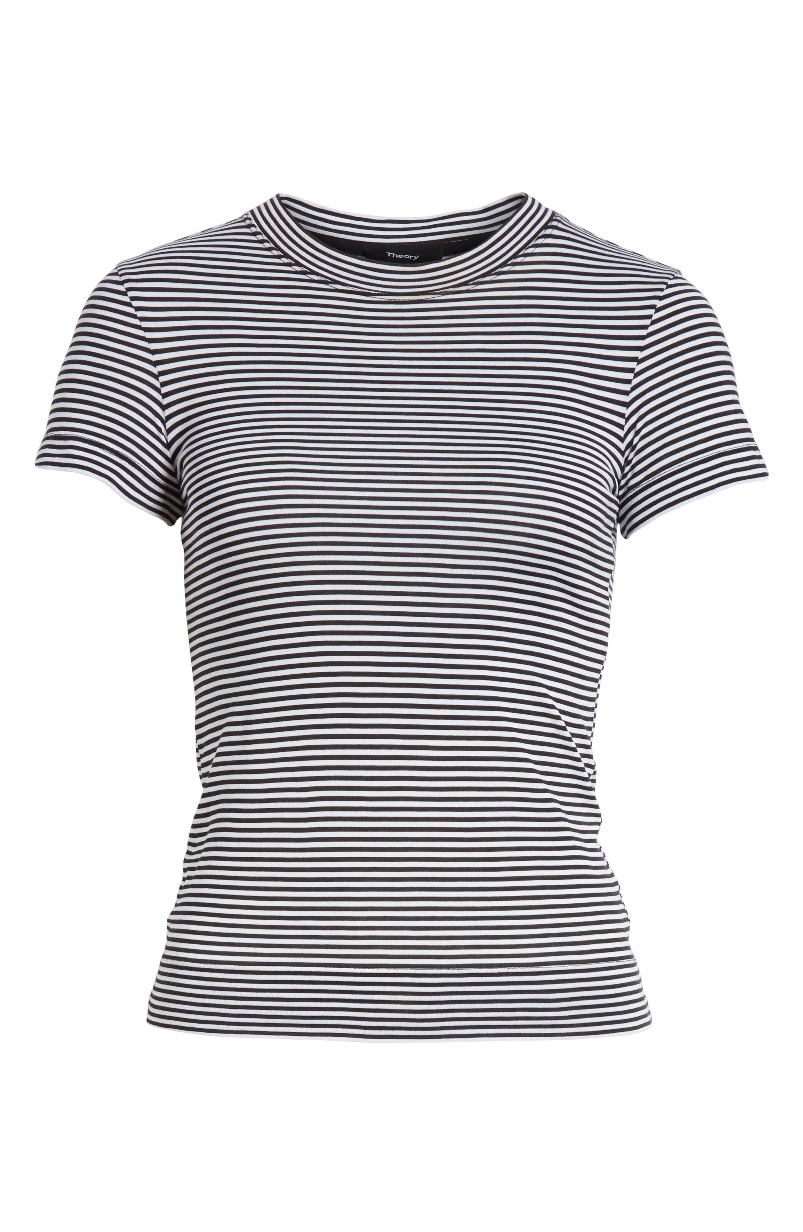 Apex Stripe Crop Tee,                             Alternate thumbnail 6, color,                             Black/ White