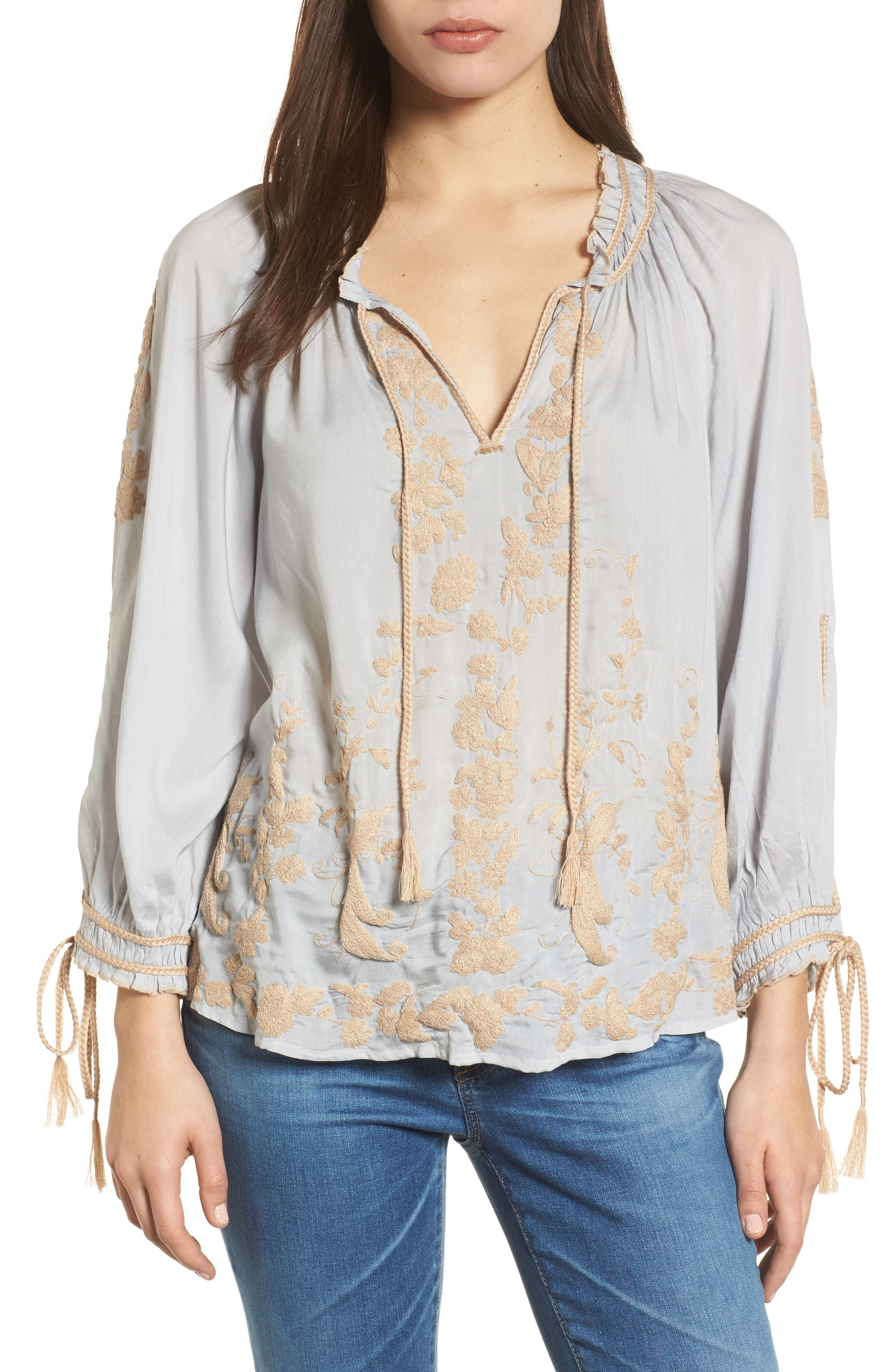 Embroidered Peasant Top,                             Main thumbnail 1, color,                             Ice Blue