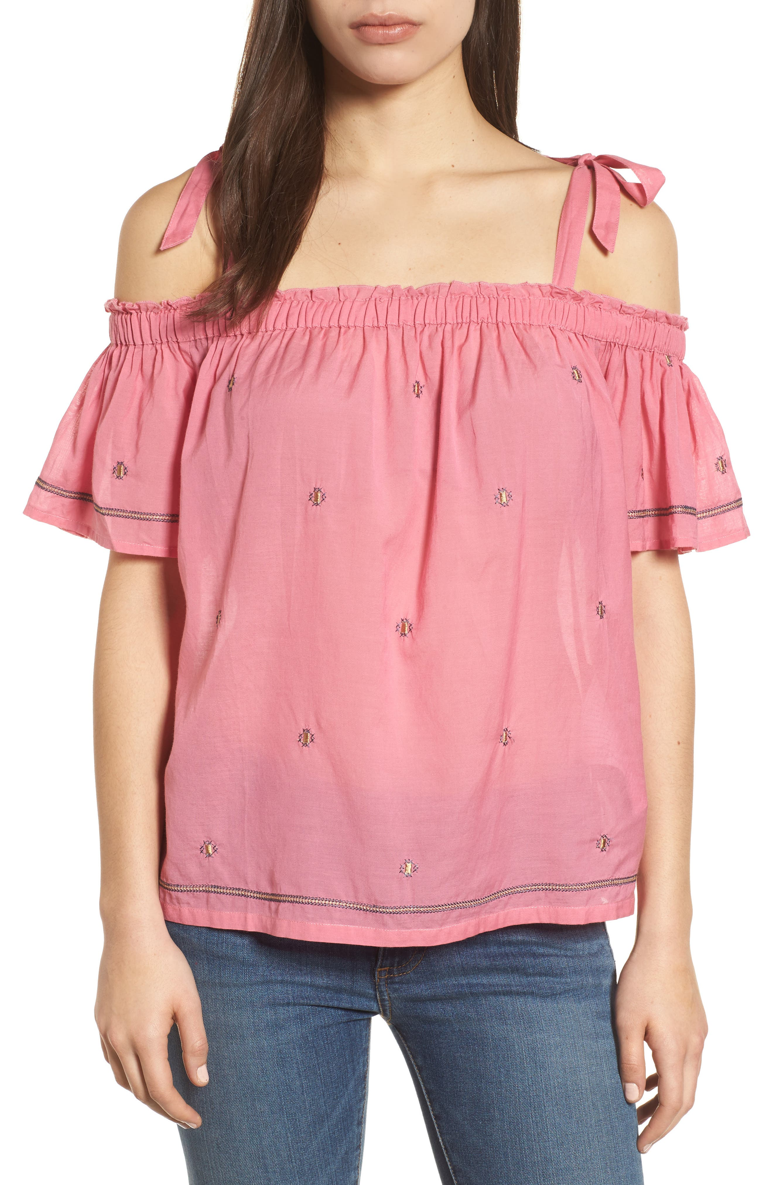 Embroidered Off the Shoulder Top,                             Main thumbnail 1, color,                             Flamingo Pink