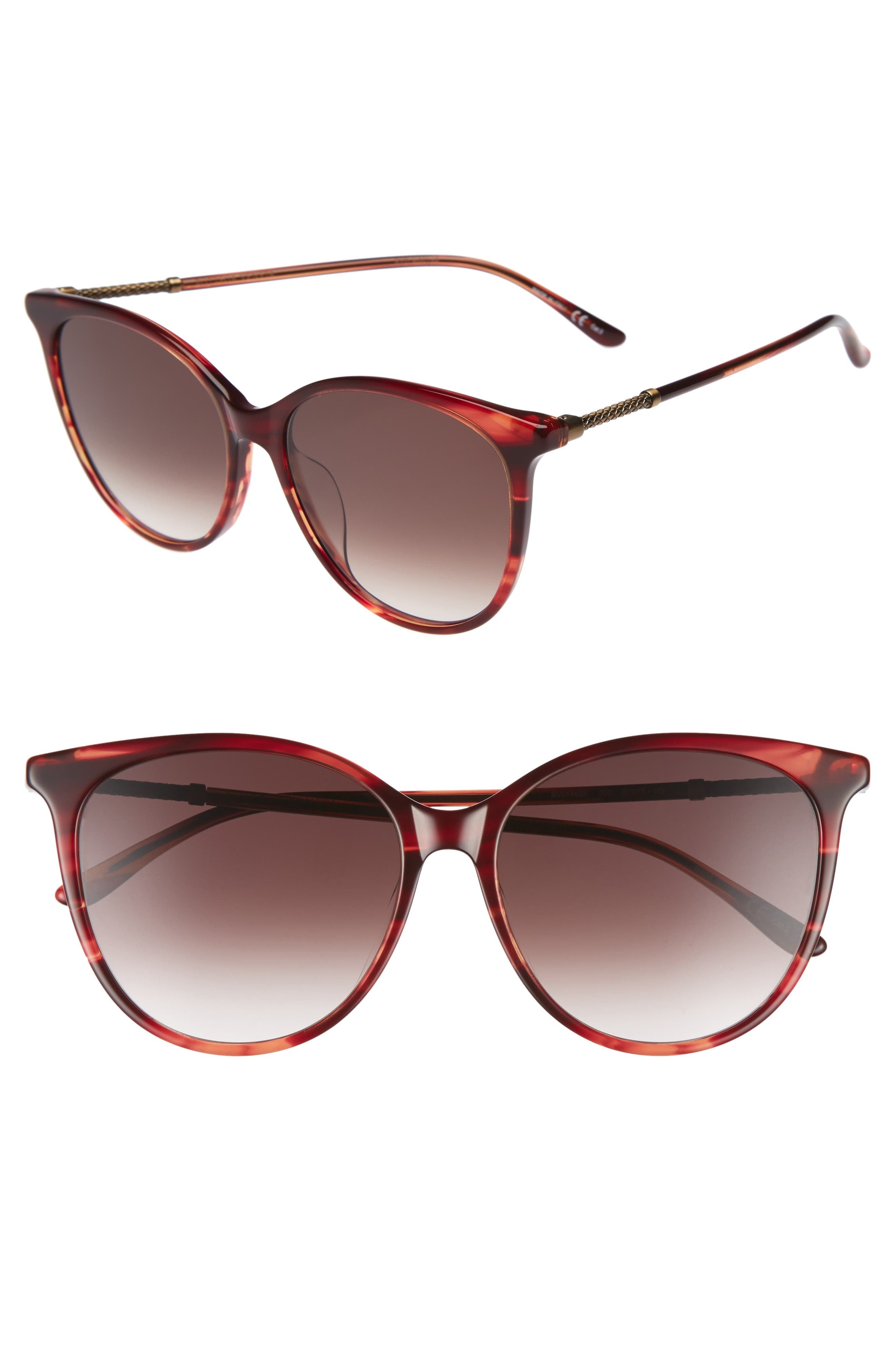 57mm Cat Eye Sunglasses,                             Main thumbnail 1, color,                             Red
