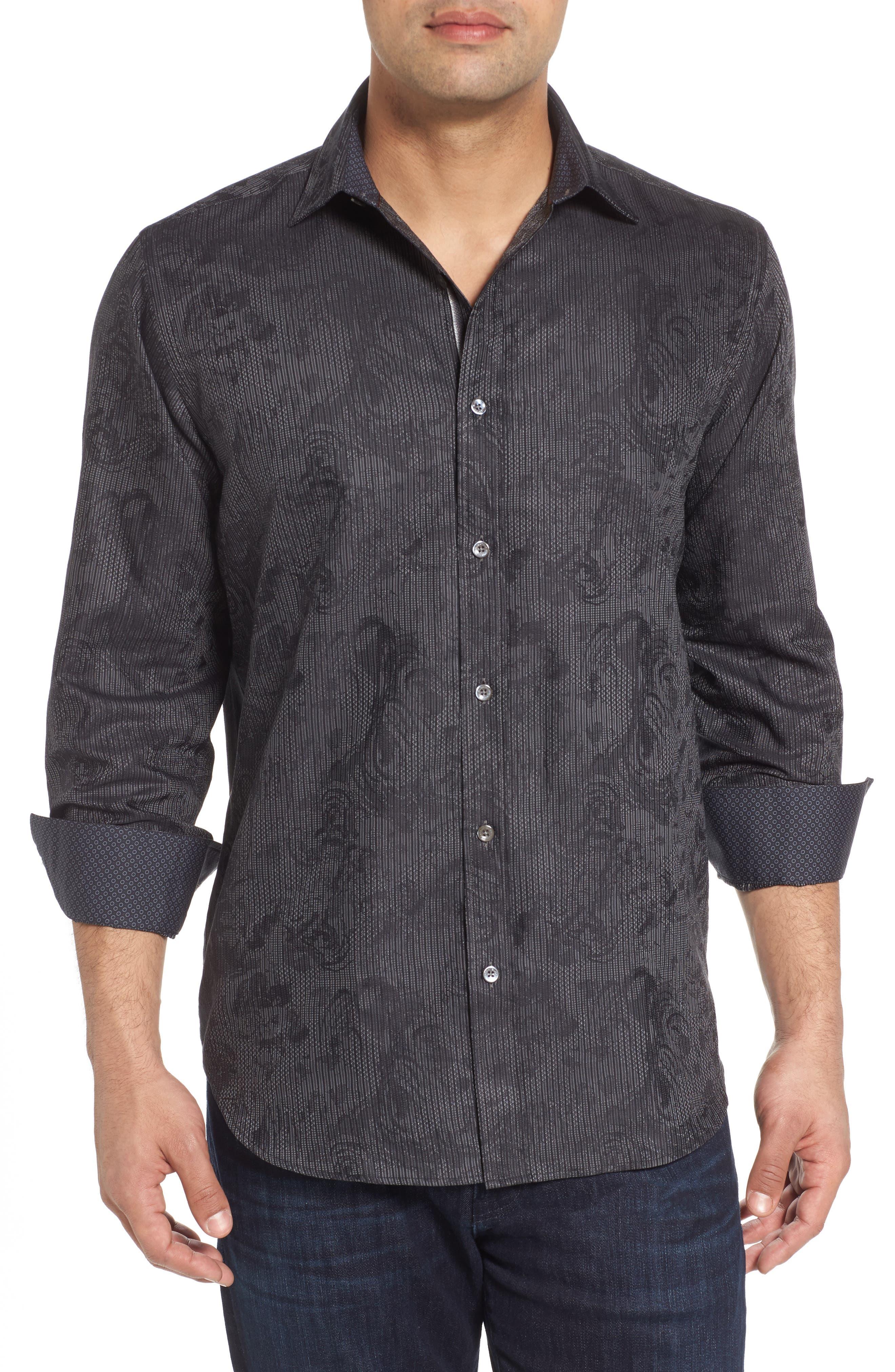 Shaped Fit Print Sport Shirt,                             Main thumbnail 1, color,                             Black