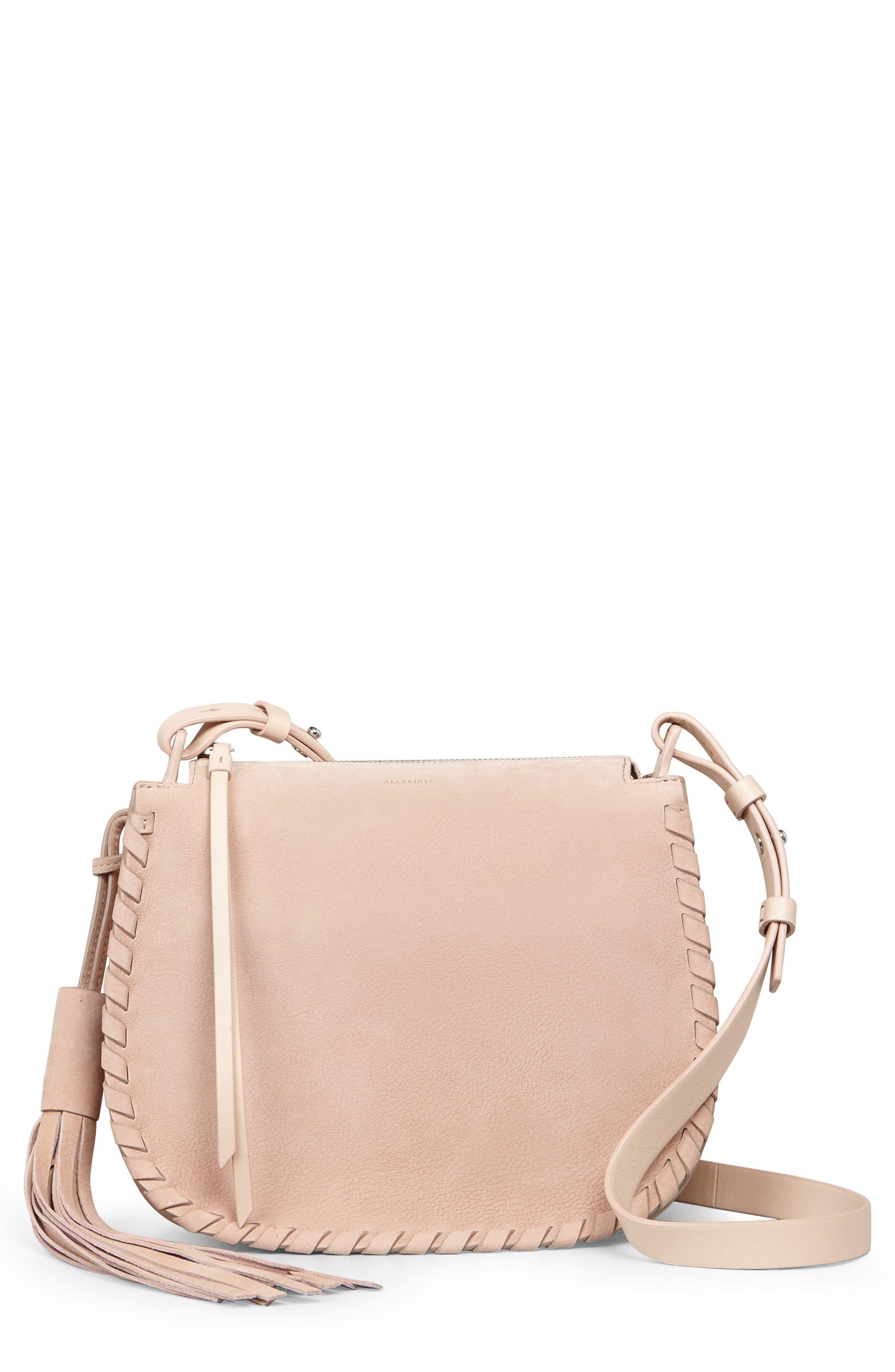 Mori Suede Crossbody Bag,                             Main thumbnail 1, color,                             Nude Pink