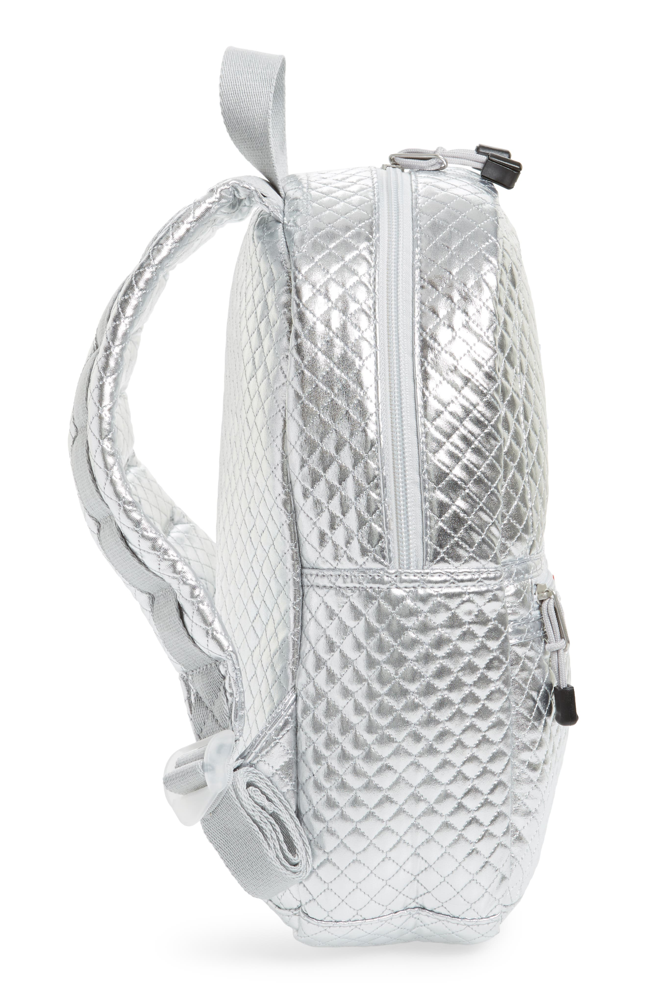 Flatbush Mini Kane Backpack,                             Alternate thumbnail 5, color,                             Silver Quilted