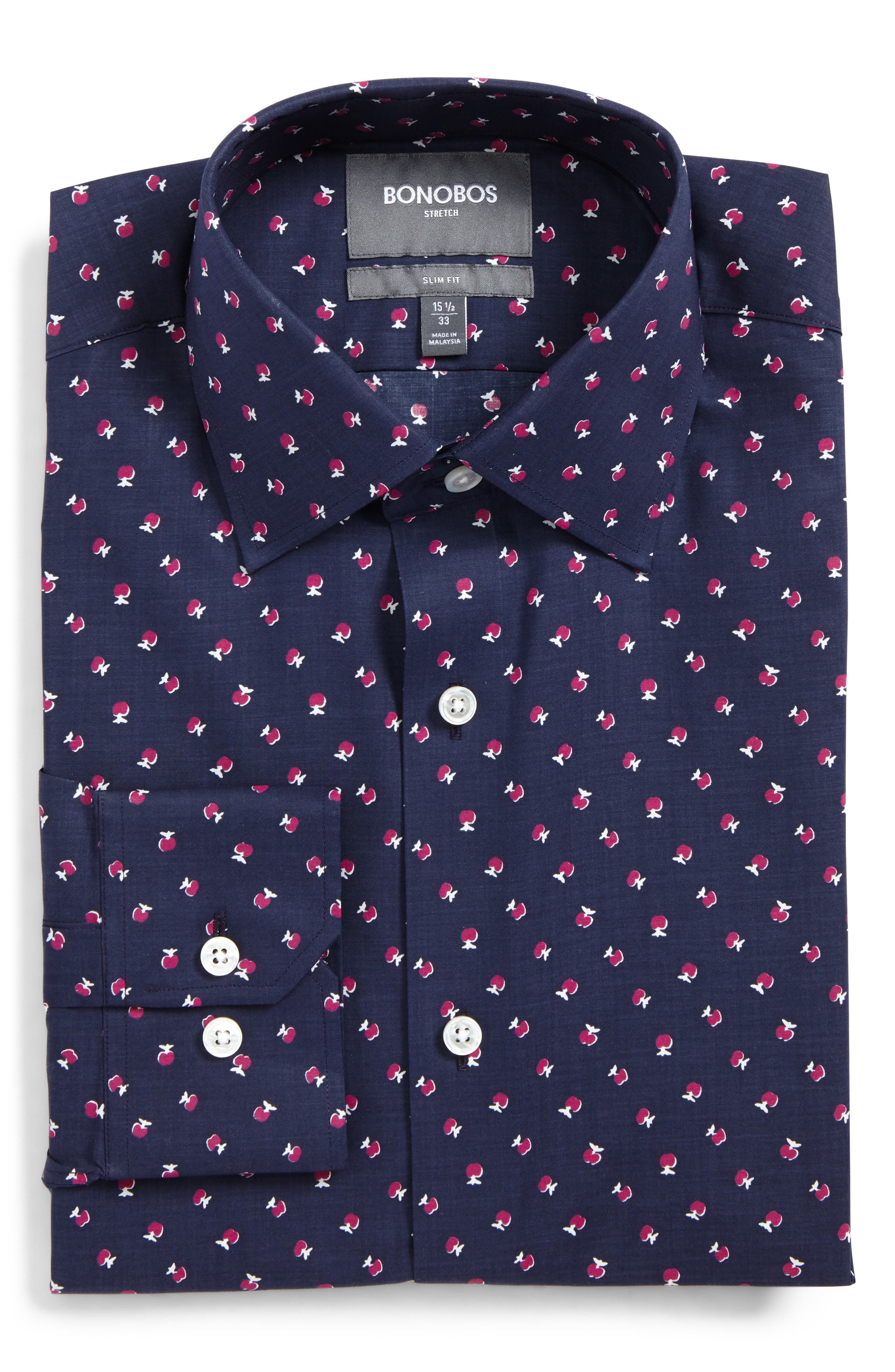 Cherry Slim Fit Stretch Floral Dress Shirt,                             Main thumbnail 1, color,                             French Rose