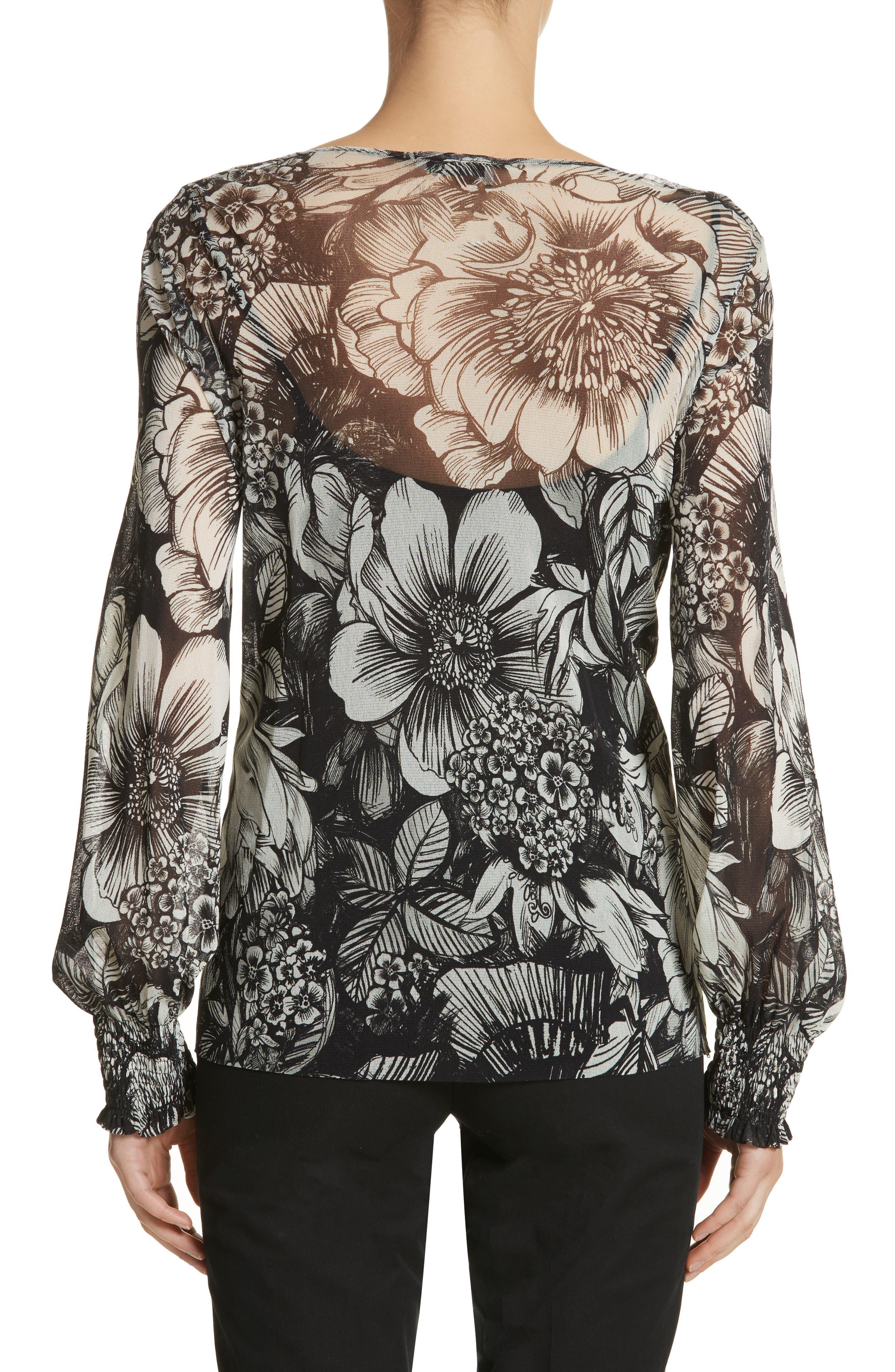 Alternate Image 2  - Fuzzi Floral Print Tulle Blouson Top