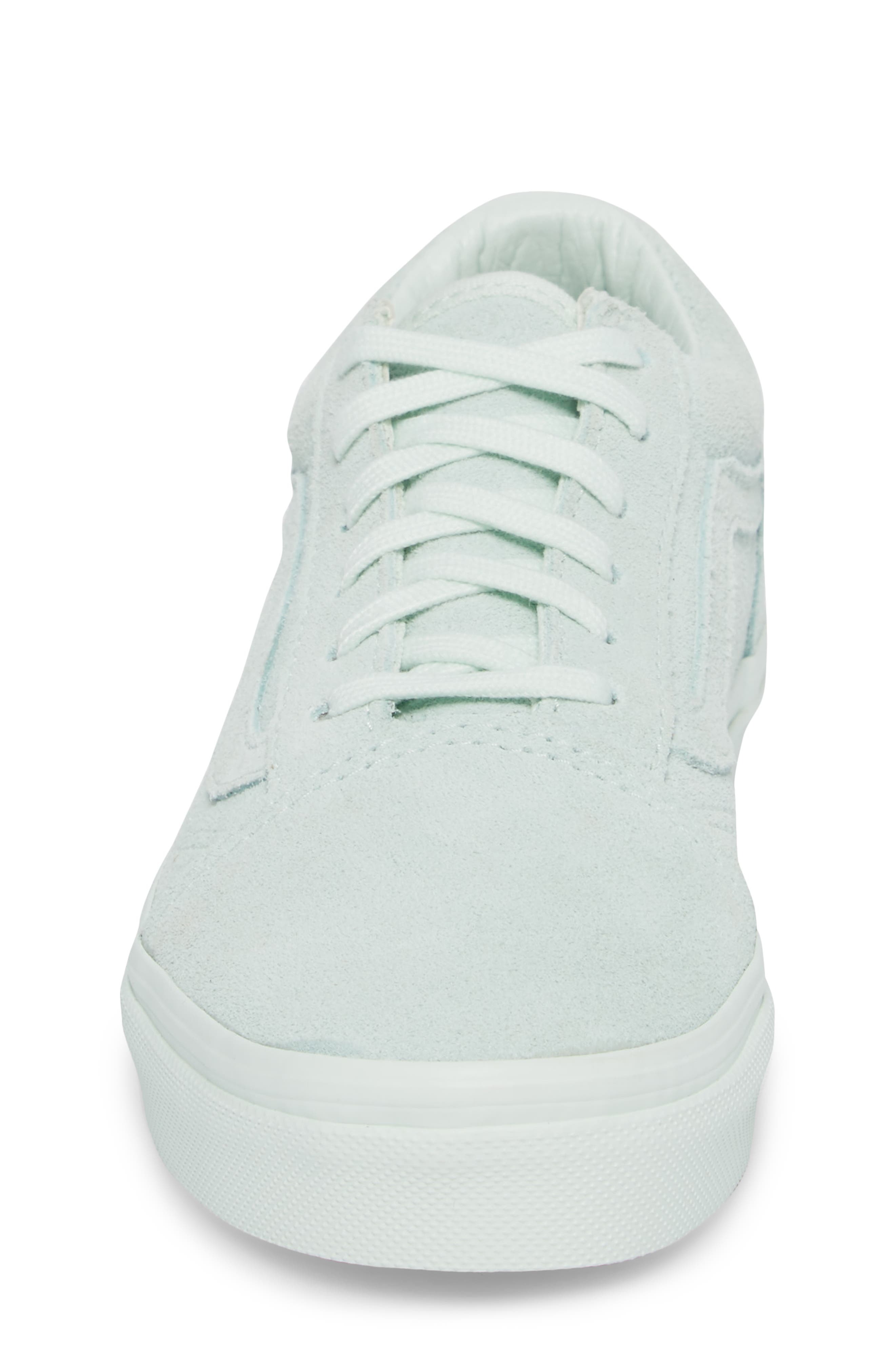 Old Skool Low Top Sneaker,                             Alternate thumbnail 4, color,                             Suede Mono/ Aqua Glass