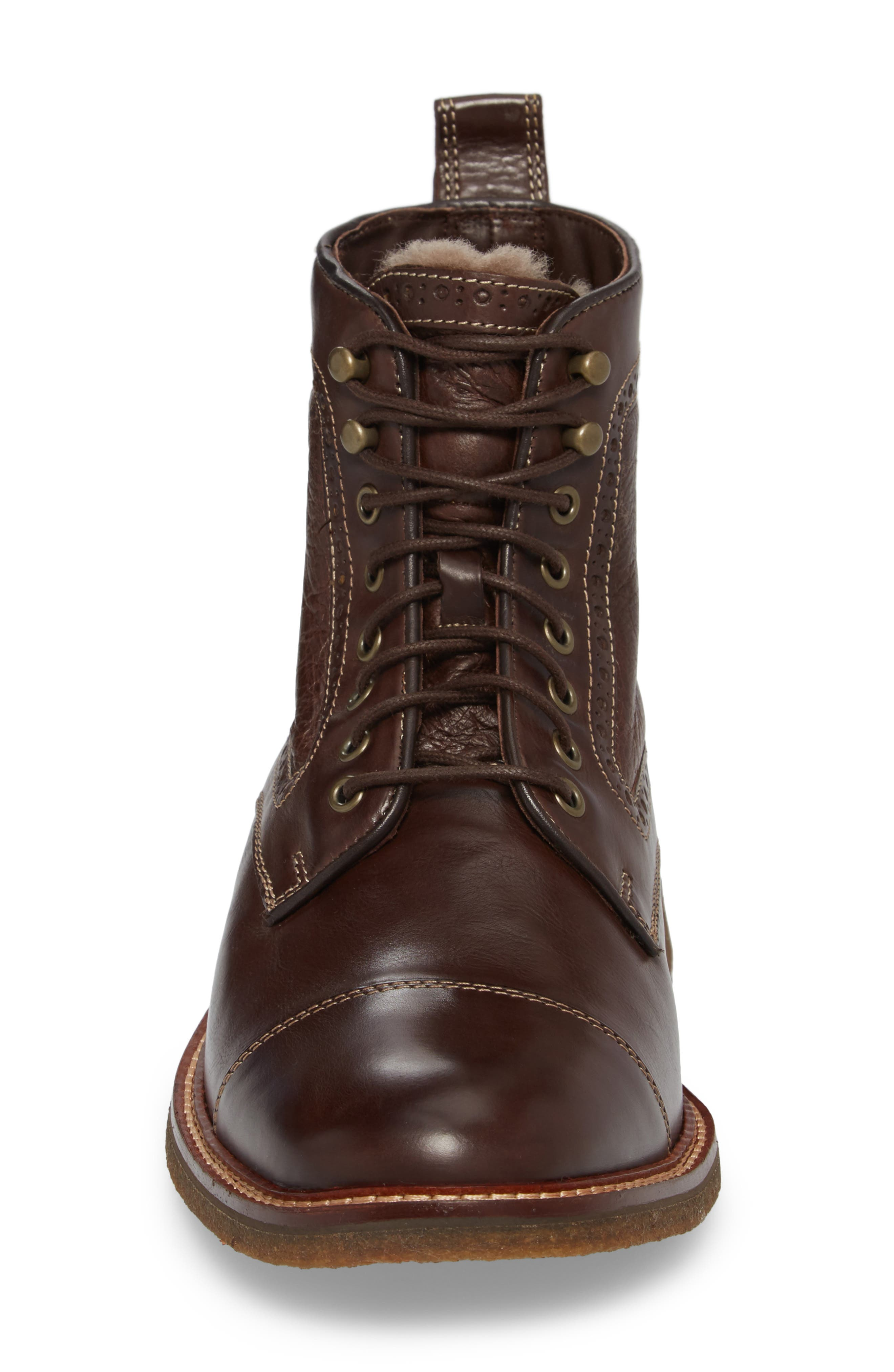 Forrester Genuine Shearling Lined Cap Toe Boot,                             Alternate thumbnail 4, color,                             Chocolate Leather