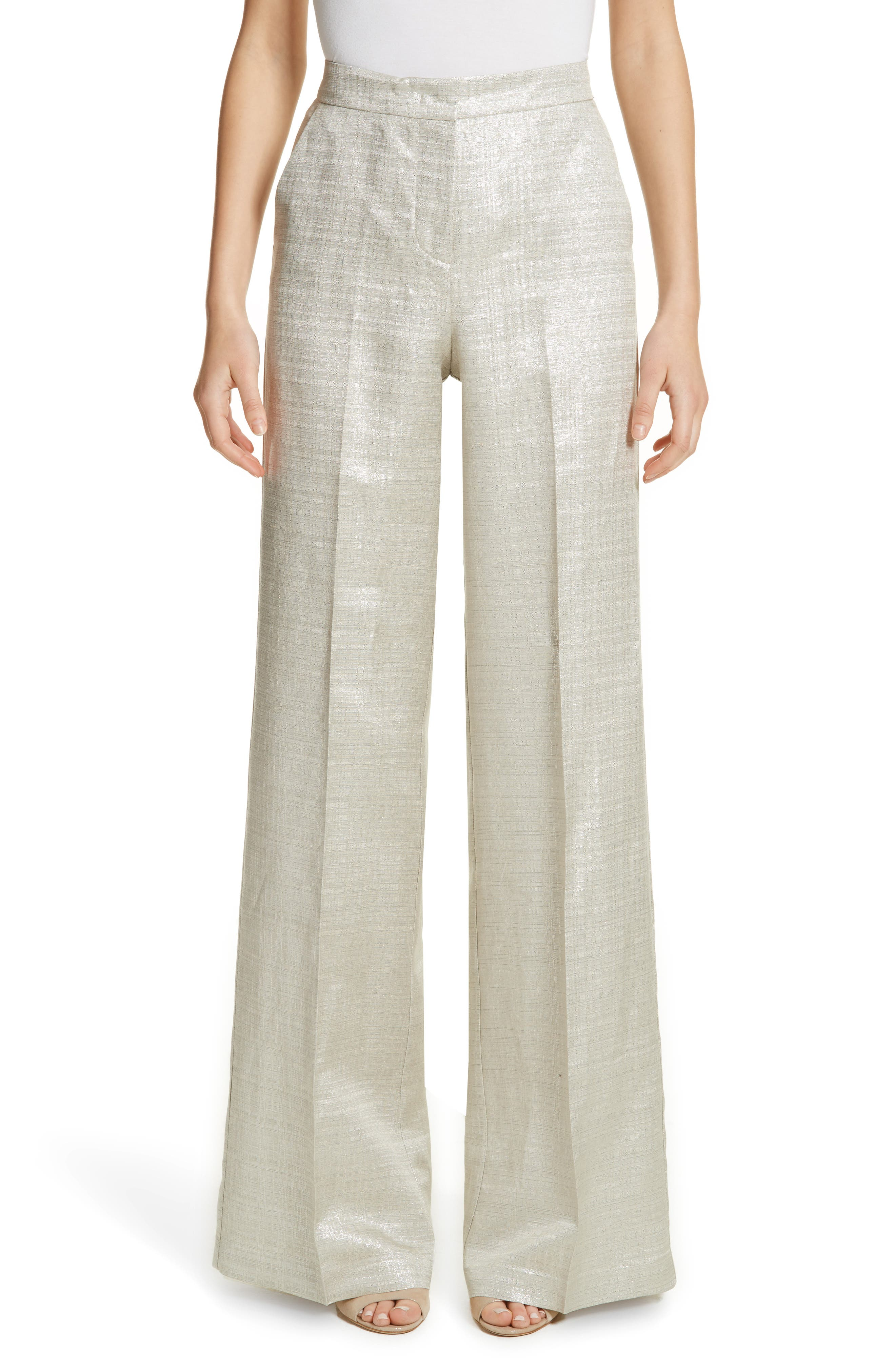 Metallic Wide Leg Pants,                         Main,                         color, Silver