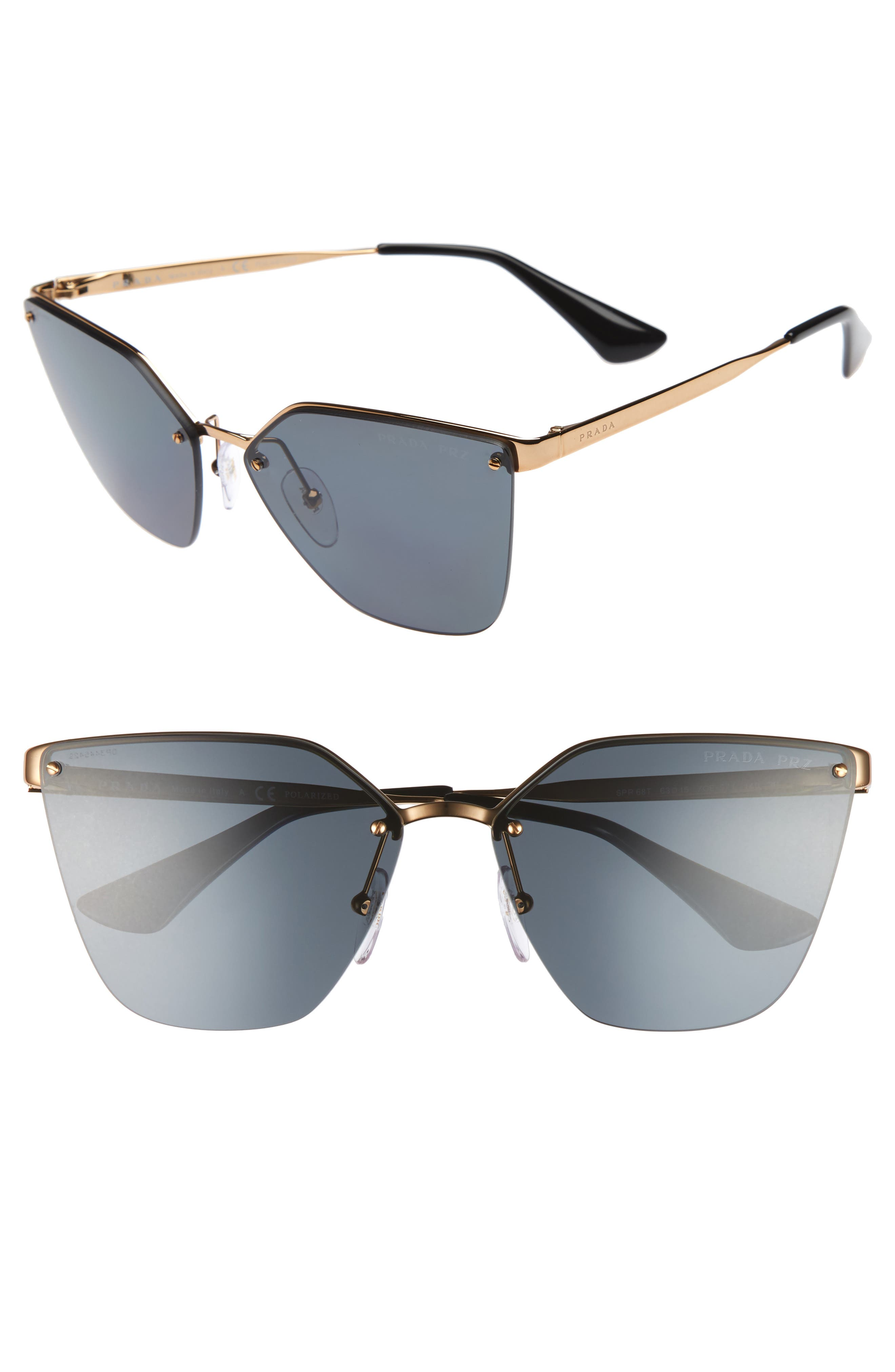 63mm Oversize Rimless Sunglasses,                             Main thumbnail 1, color,                             Black/ Green