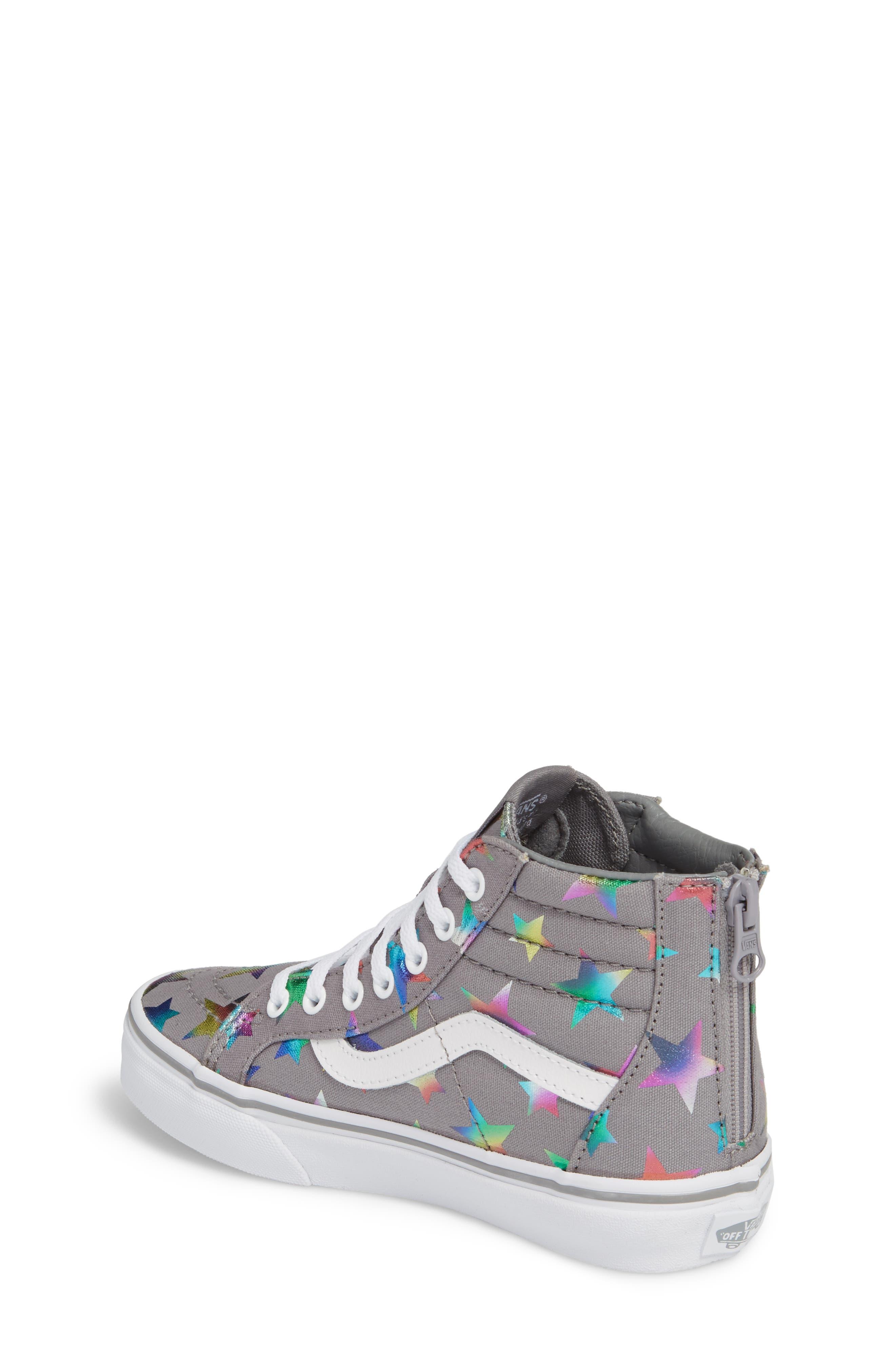 Alternate Image 2  - Vans Sk8-Hi Zip Star Print High Top Sneaker (Baby, Walker, Toddler, Little Kid & Big Kid)