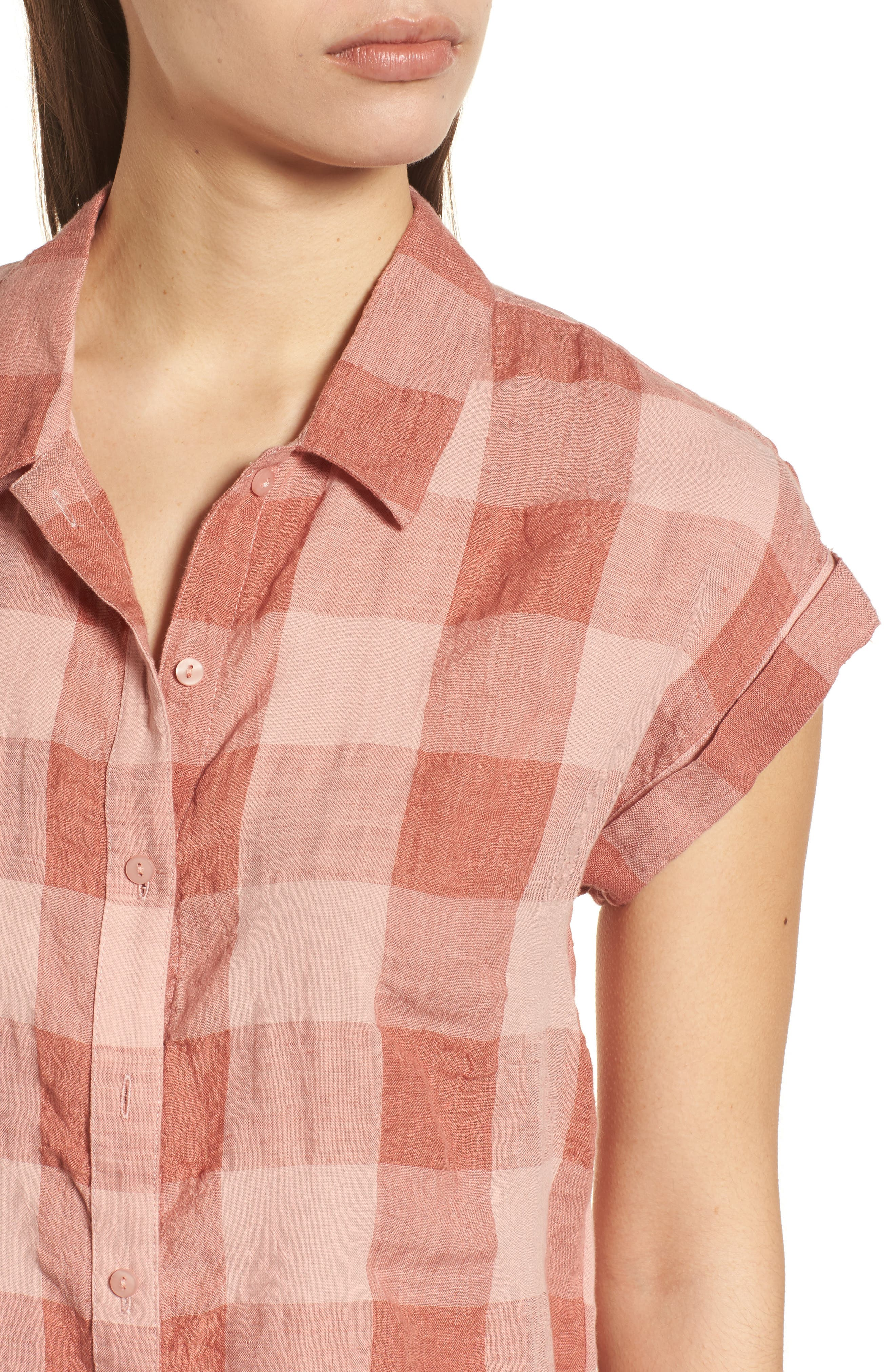 Plaid Short Sleeve High/Low Top,                             Alternate thumbnail 4, color,                             Pink Multi
