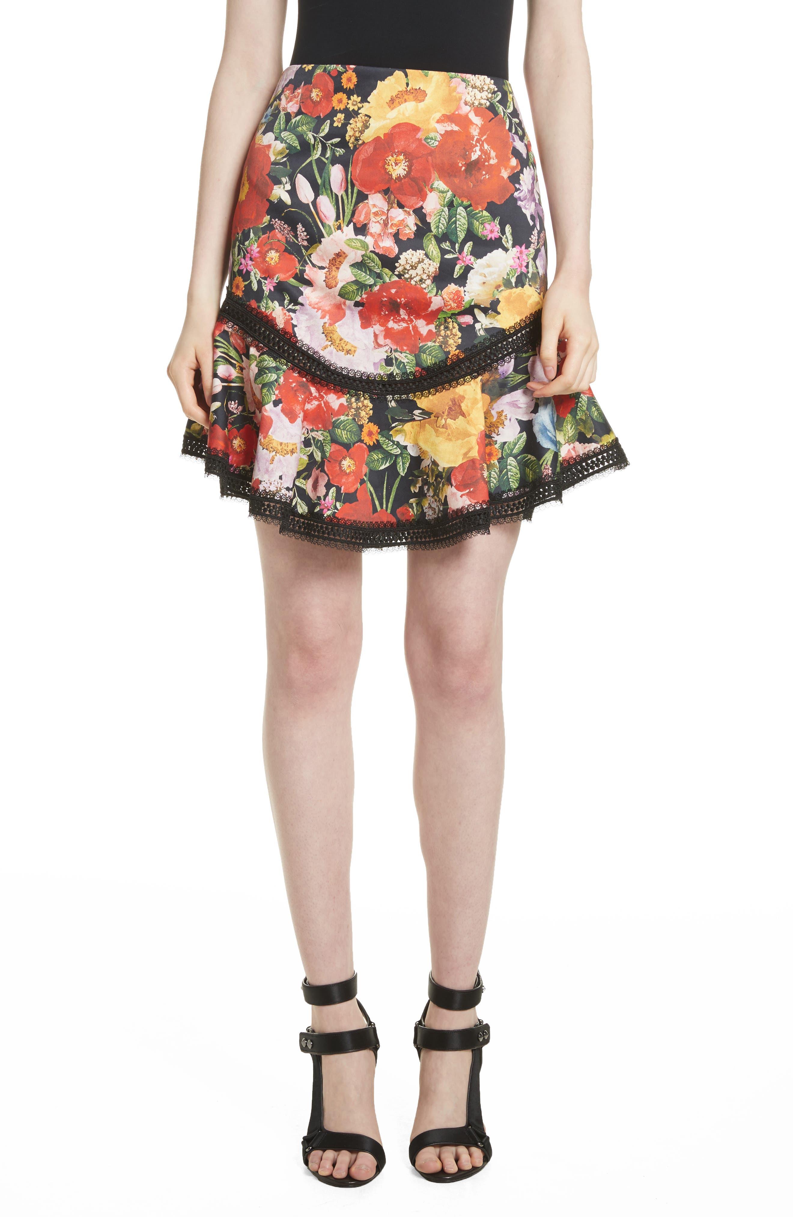 Alice + Olivia Floral Skirt
