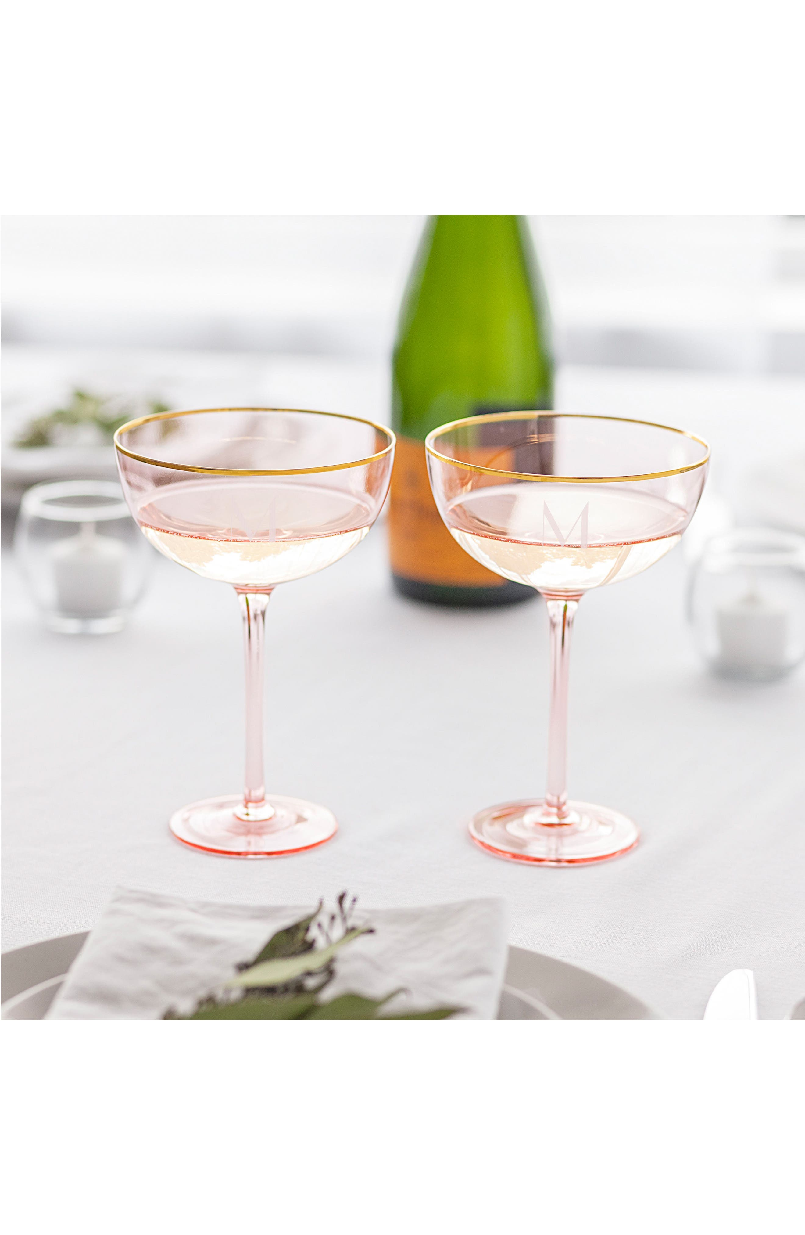 Monogram Set of 2 Champagne Coupes,                             Alternate thumbnail 12, color,                             Blush