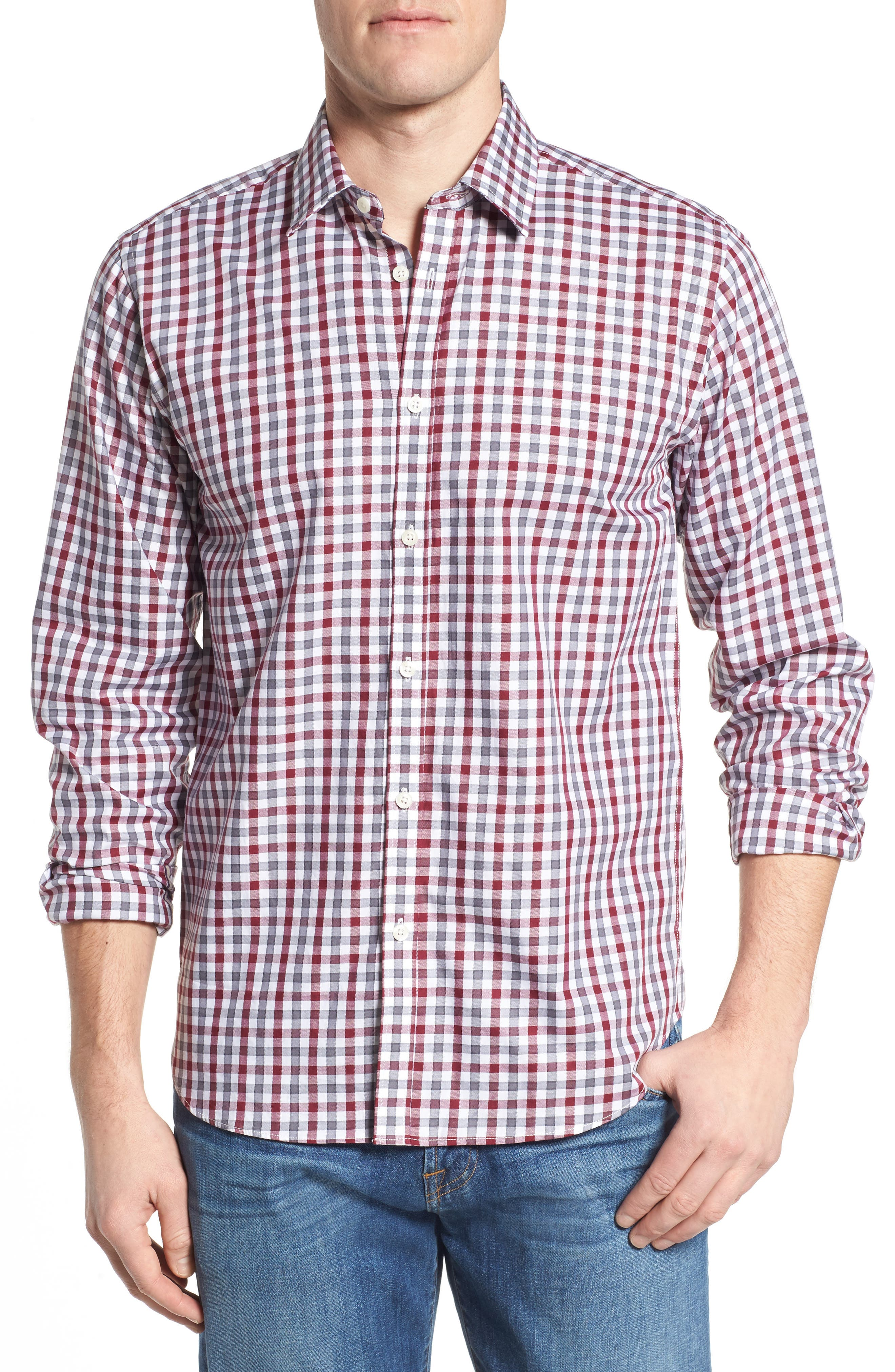 Fitted Check Sport Shirt,                         Main,                         color, Dark Red