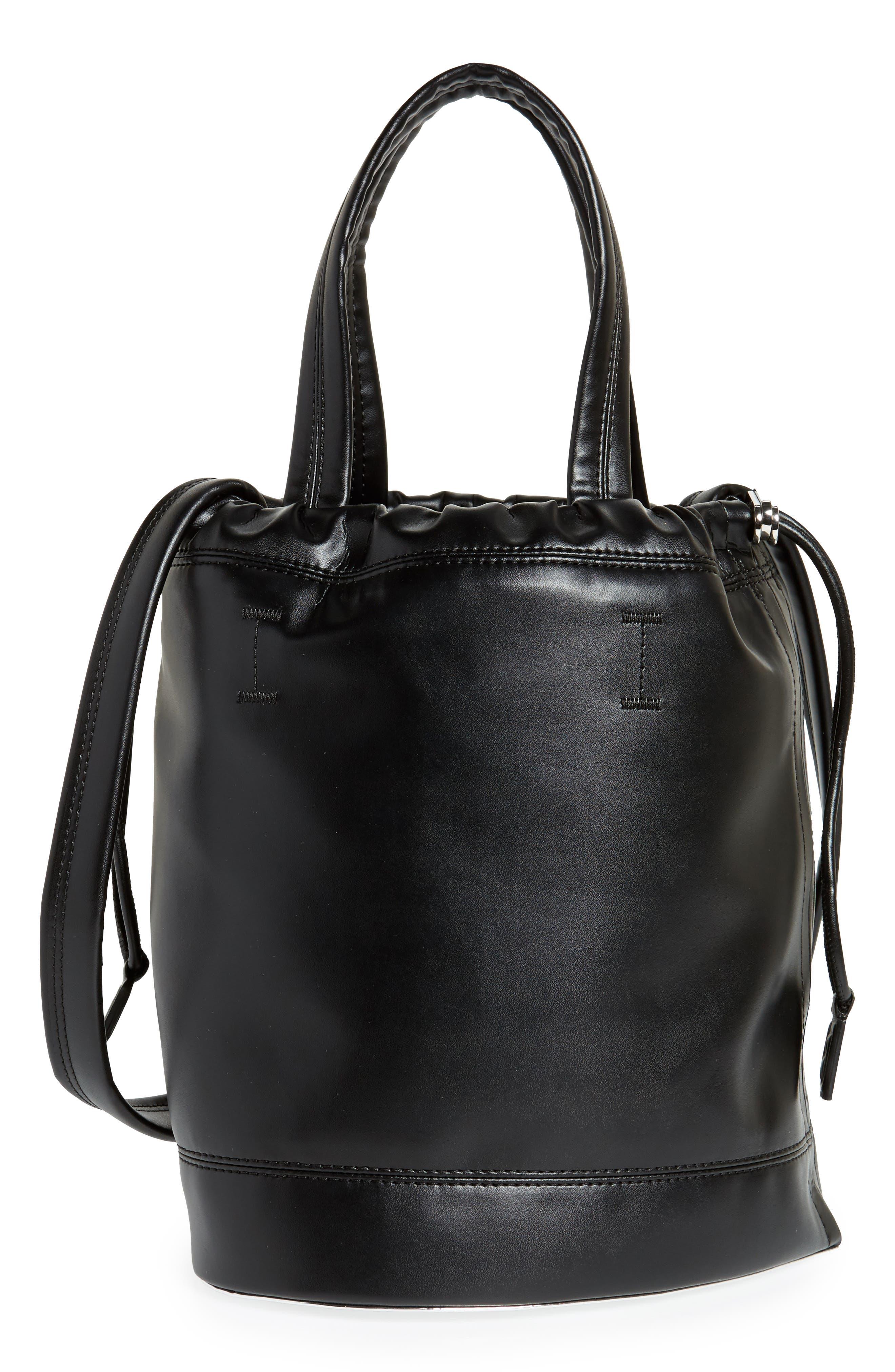 Medium Pouch Faux Leather Tote,                             Main thumbnail 1, color,                             Black