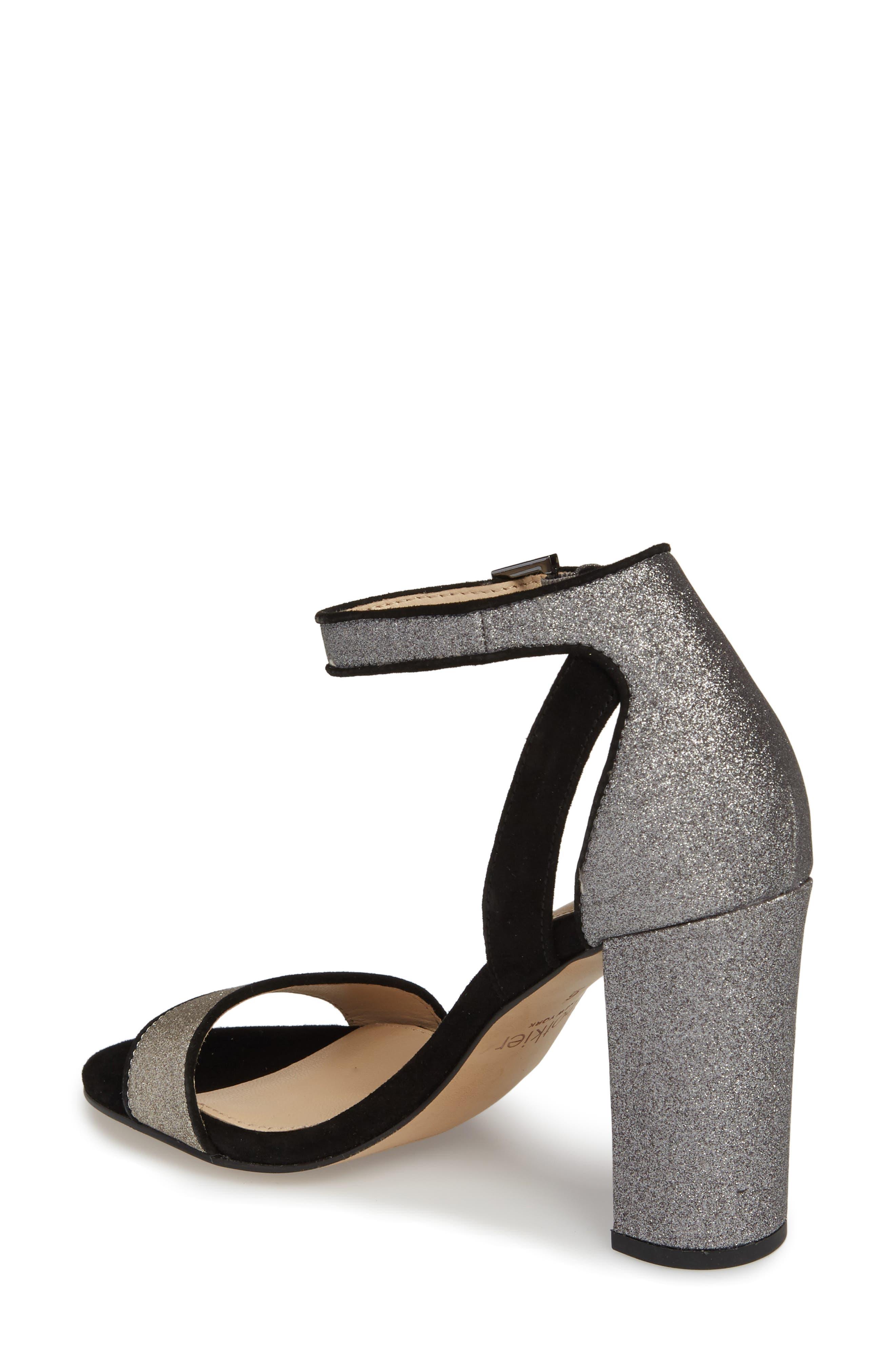 Gianna Ankle Strap Sandal,                             Alternate thumbnail 2, color,                             Gunmetal Glitter