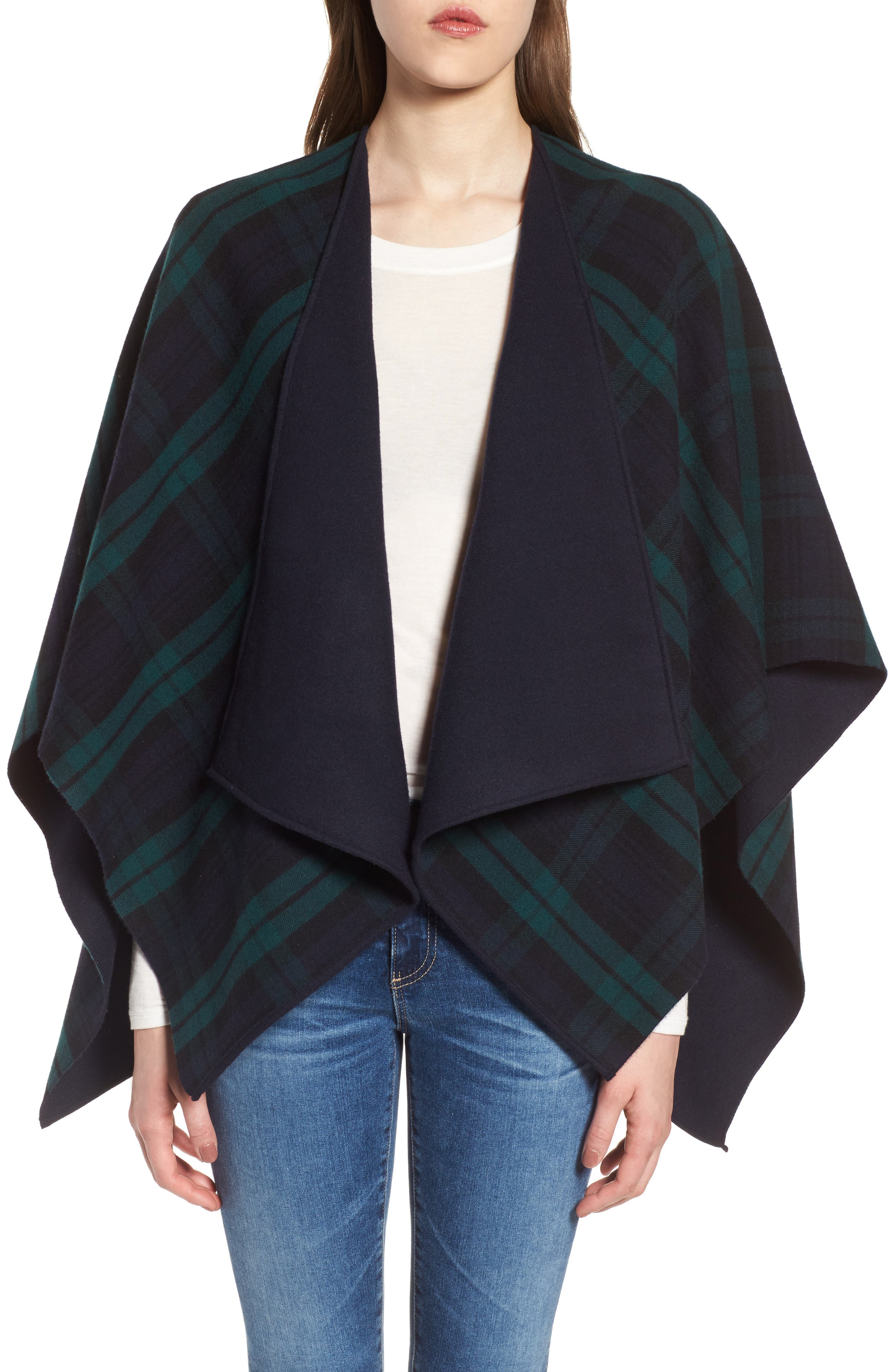 Crop Reversible Merino Wool Cape,                             Alternate thumbnail 4, color,                             Navy