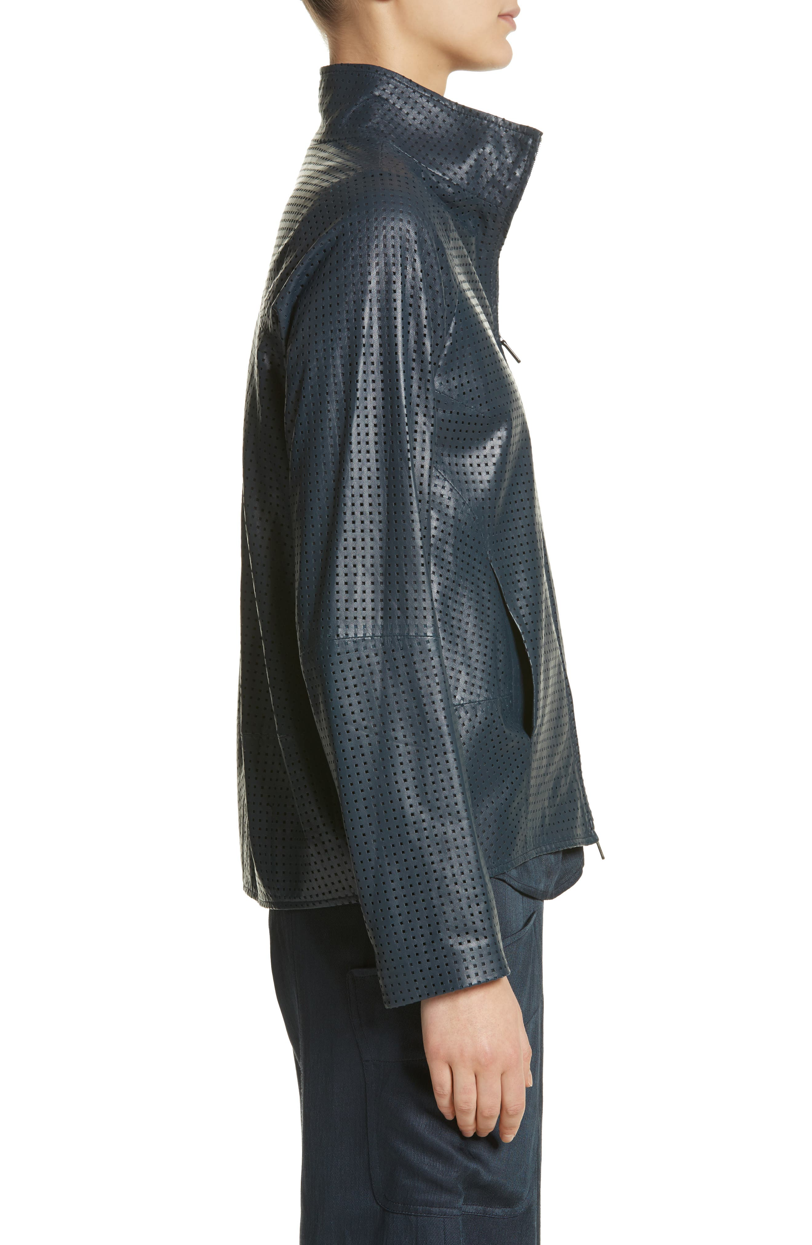 Perforated Nappa Leather Jacket,                             Alternate thumbnail 3, color,                             Ink Jet