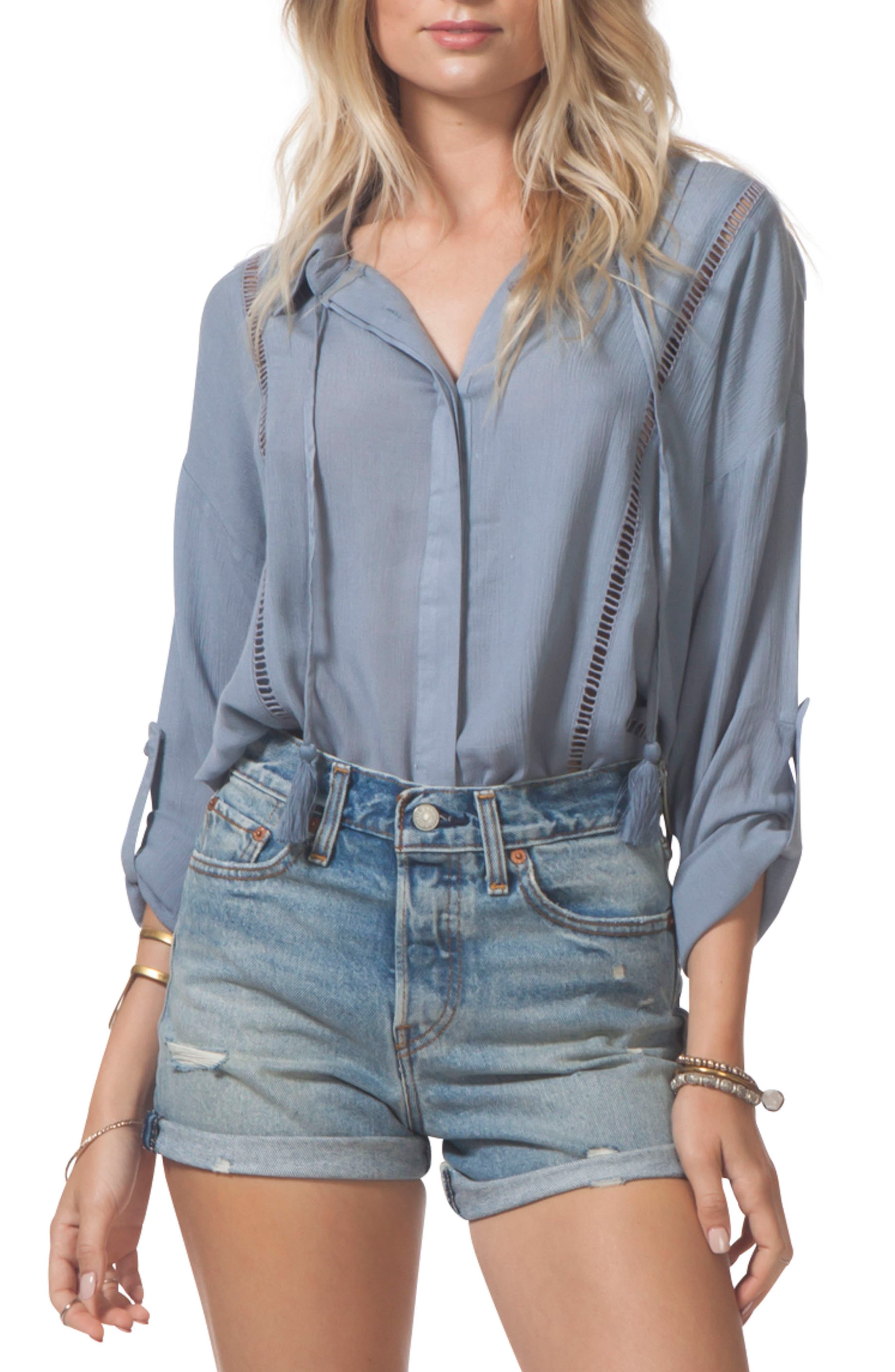 Lara Beach Shirt,                         Main,                         color, Blue