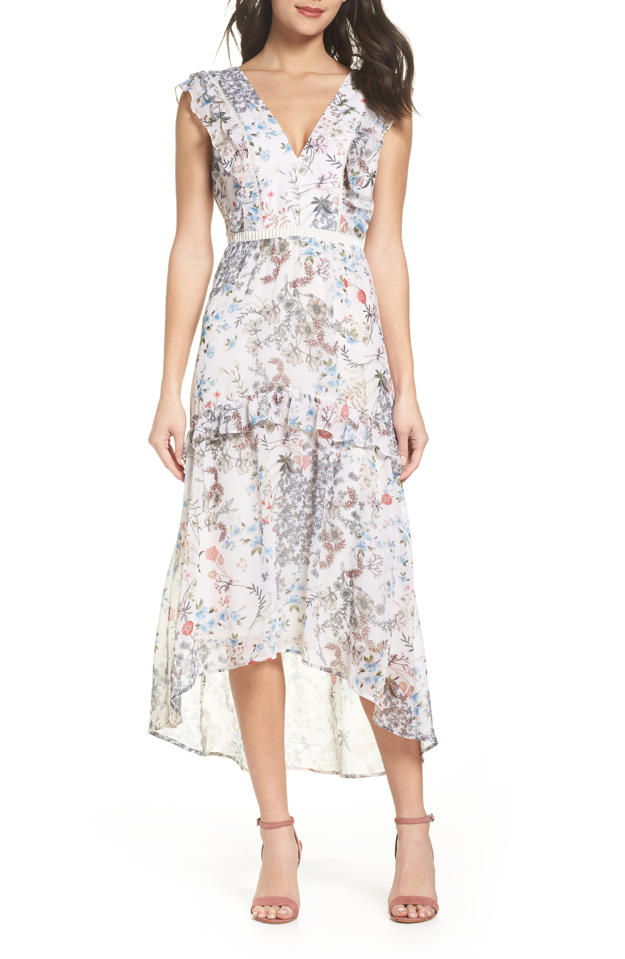 Print High/Low Midi Dress,                         Main,                         color, Ivory Amelia Floral
