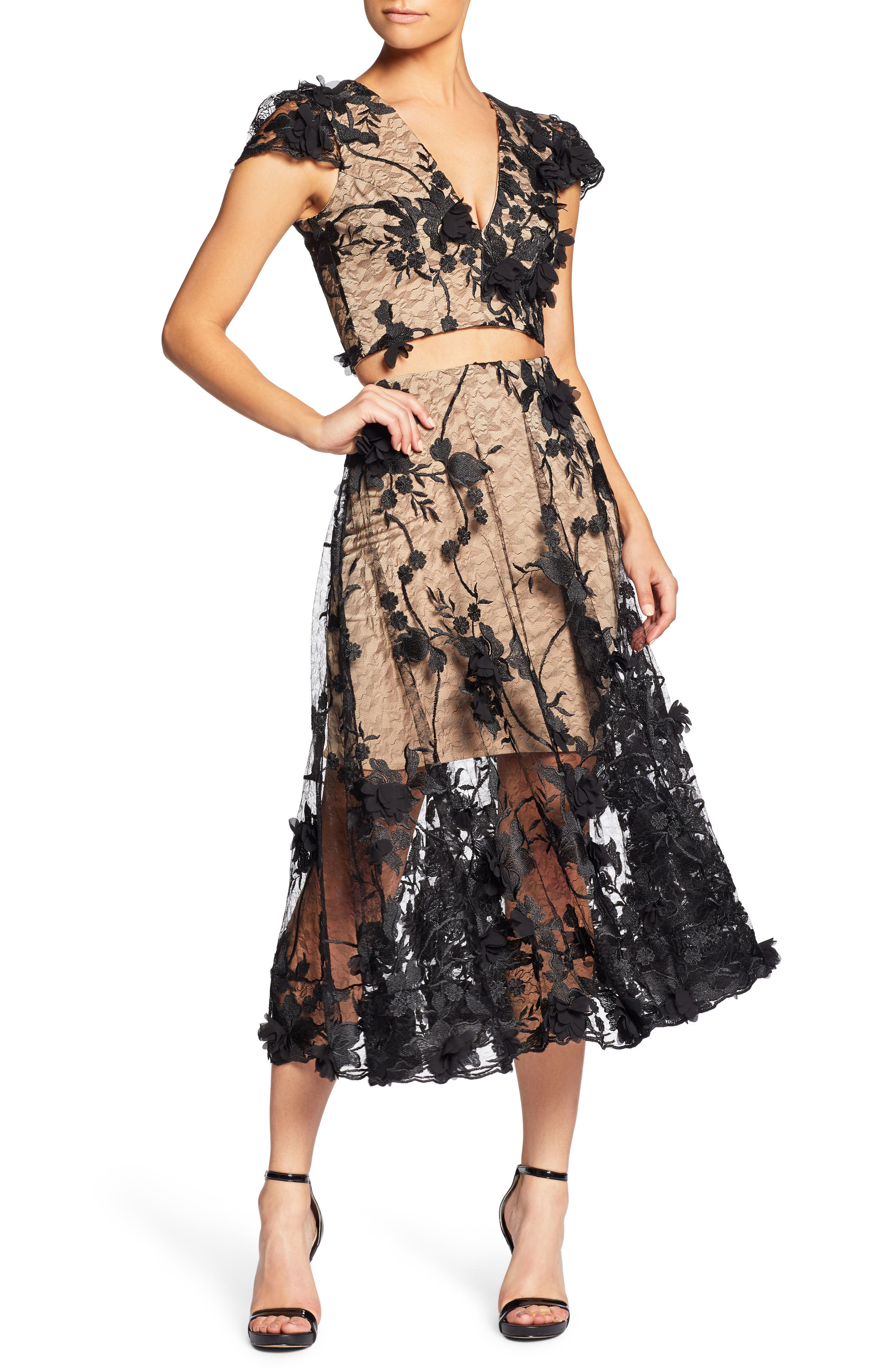 Alternate Image 1 Selected - Dress the Population Juliana 3D Lace Two-Piece Dress
